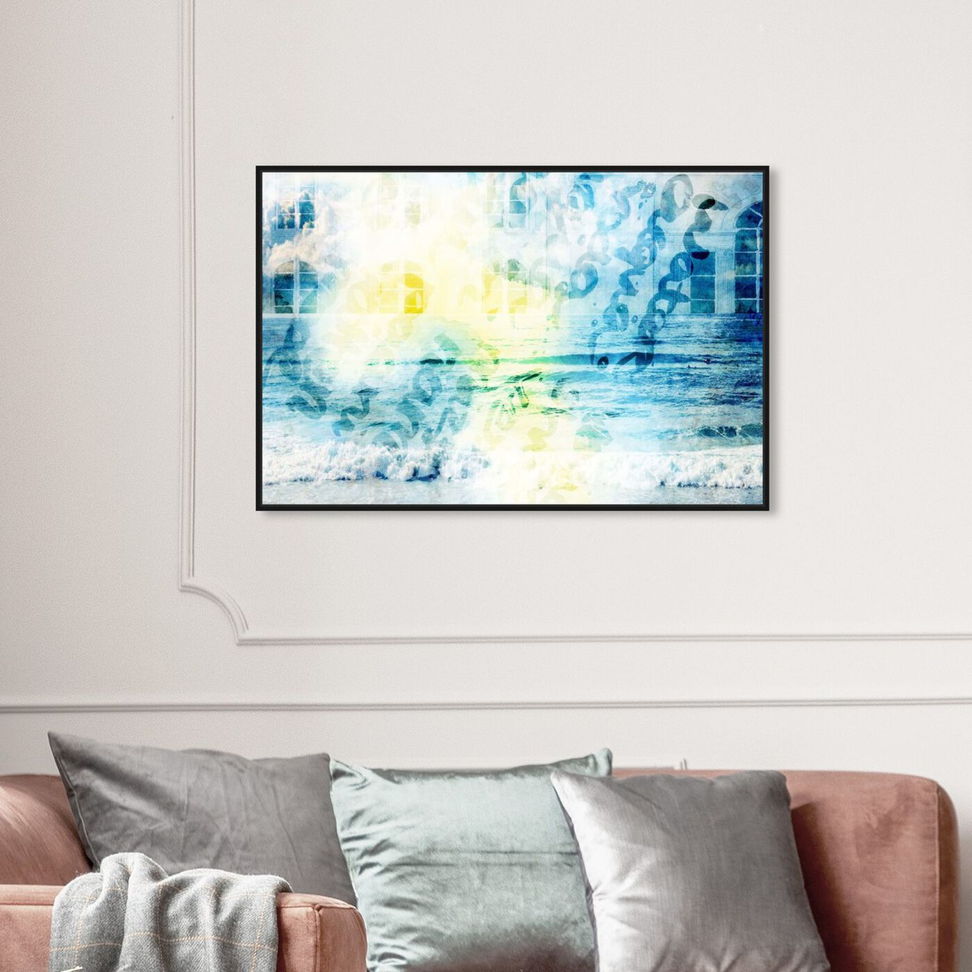 Hanging view of Water Is featuring abstract and watercolor art.