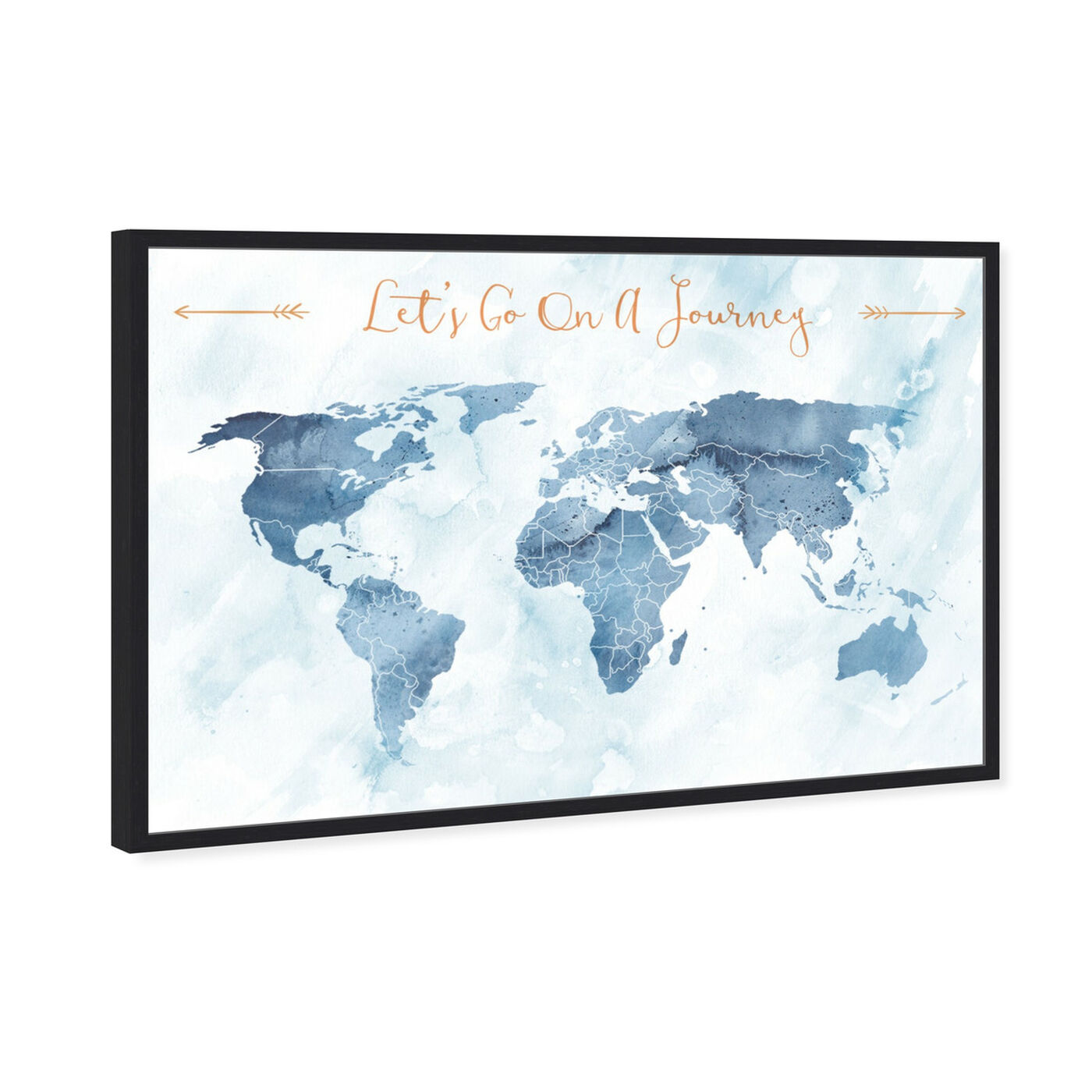 Angled view of Lets Go On A Journey featuring maps and flags and world maps art.
