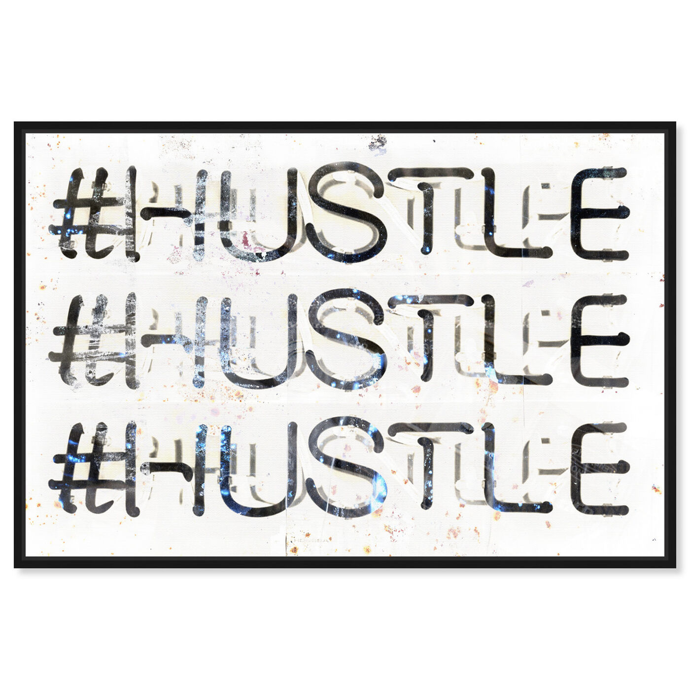 Front view of HUSTLE featuring typography and quotes and inspirational quotes and sayings art.