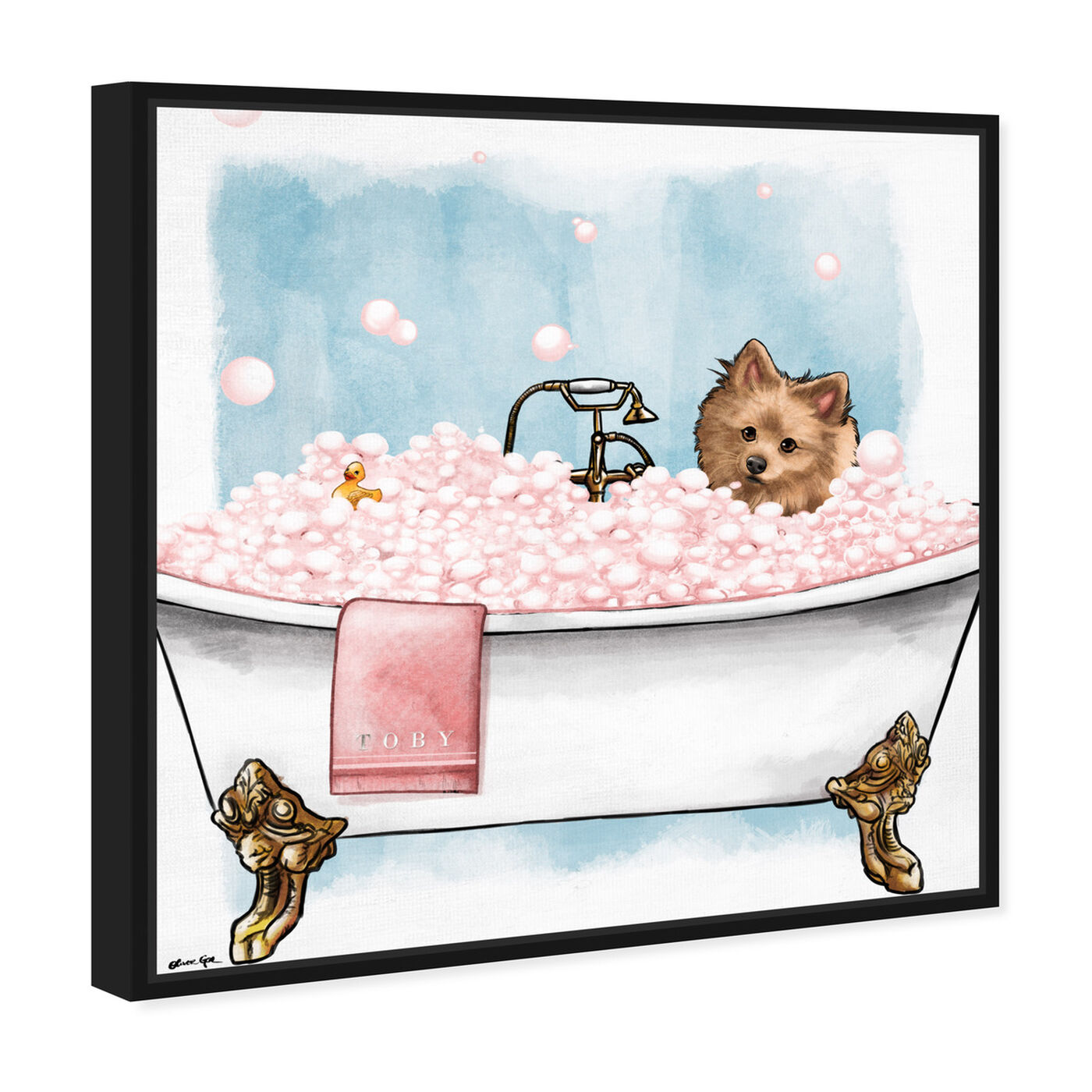 Angled view of Pets in the tub featuring bath and laundry and bathtubs art.