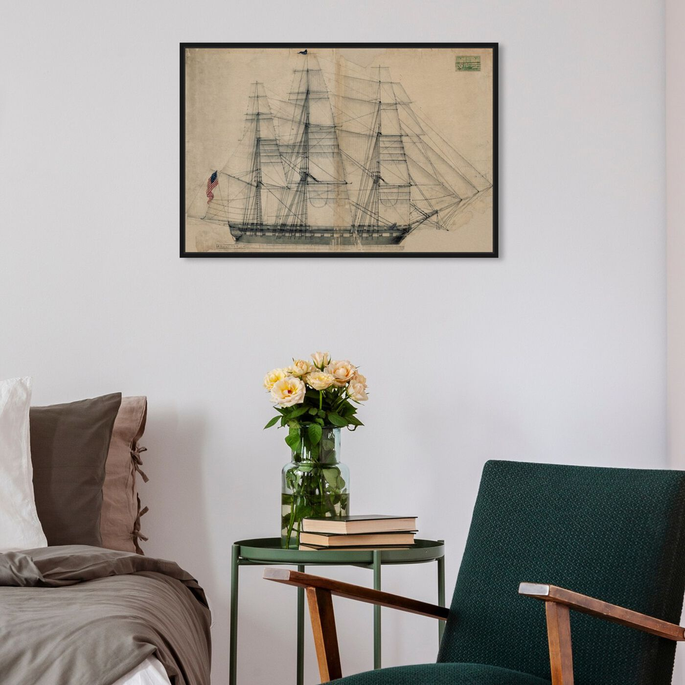 Hanging view of USS Constitution Sail Plan 1817 featuring nautical and coastal and nautical watercrafts art.