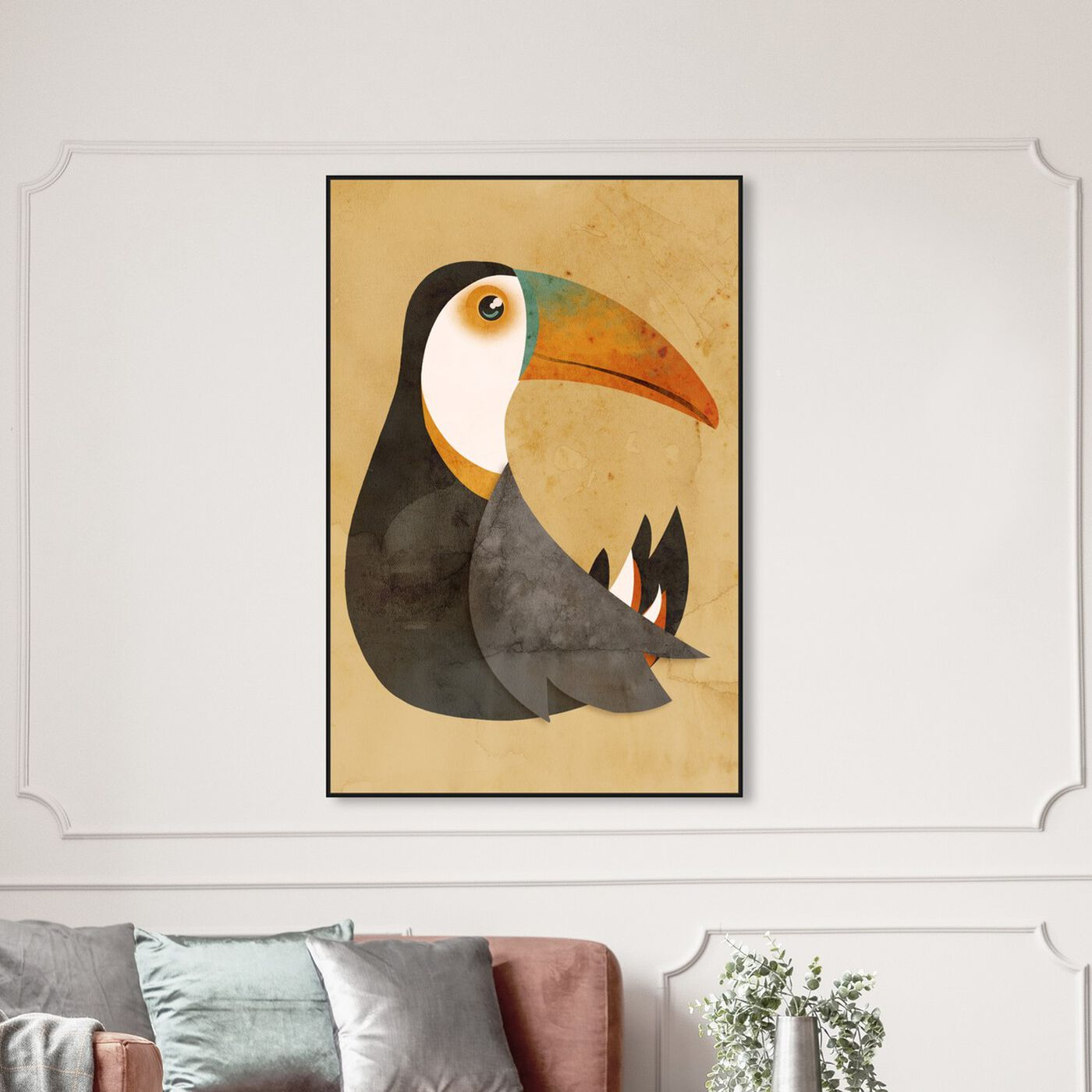 Hanging view of Vibrant Toucan featuring animals and birds art.