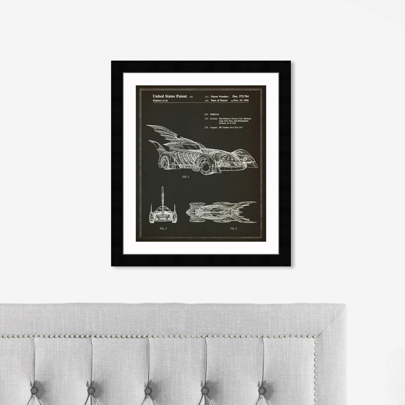 Hanging view of Batmobile 1996 I featuring symbols and objects and toys art.
