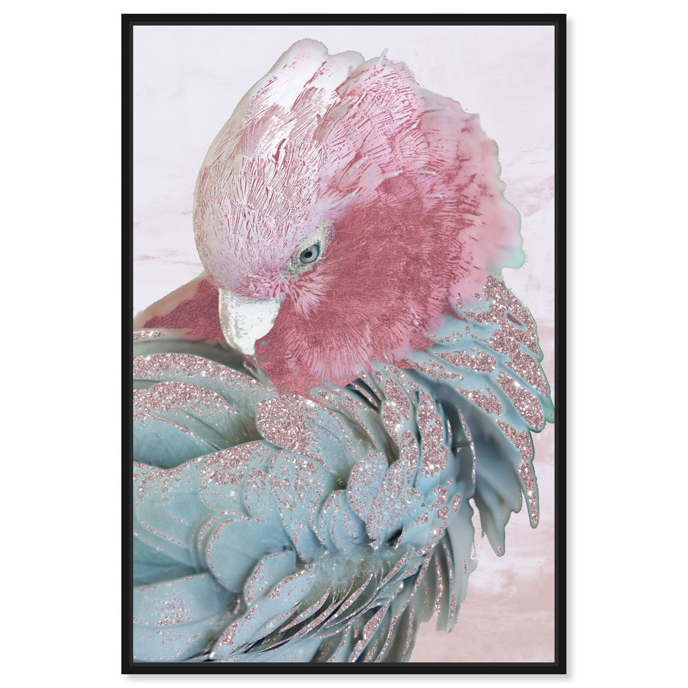 Front view of Cockatoo in Sydney Blush featuring animals and birds art.
