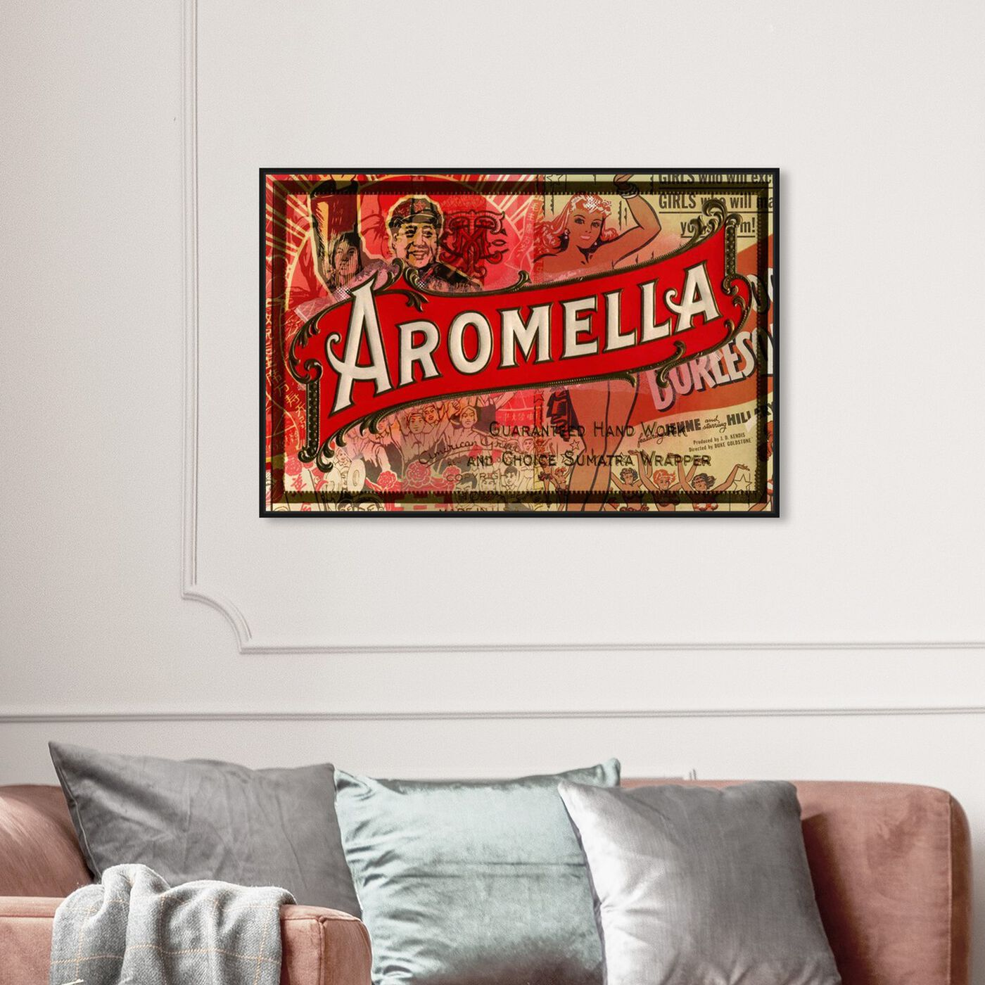 Hanging view of Aromella featuring advertising and posters art.