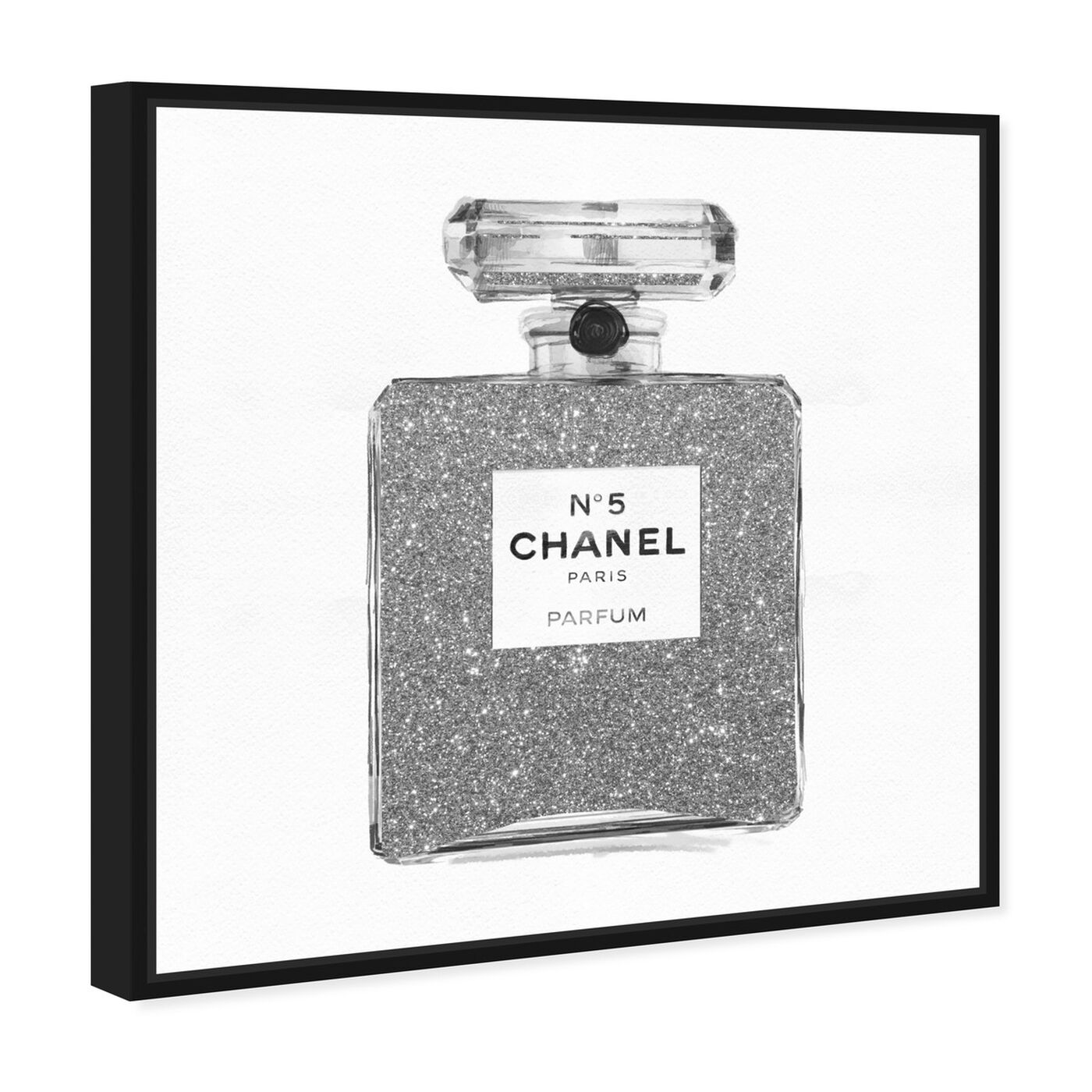 Angled view of Silver Classic Number 5 featuring fashion and glam and perfumes art.