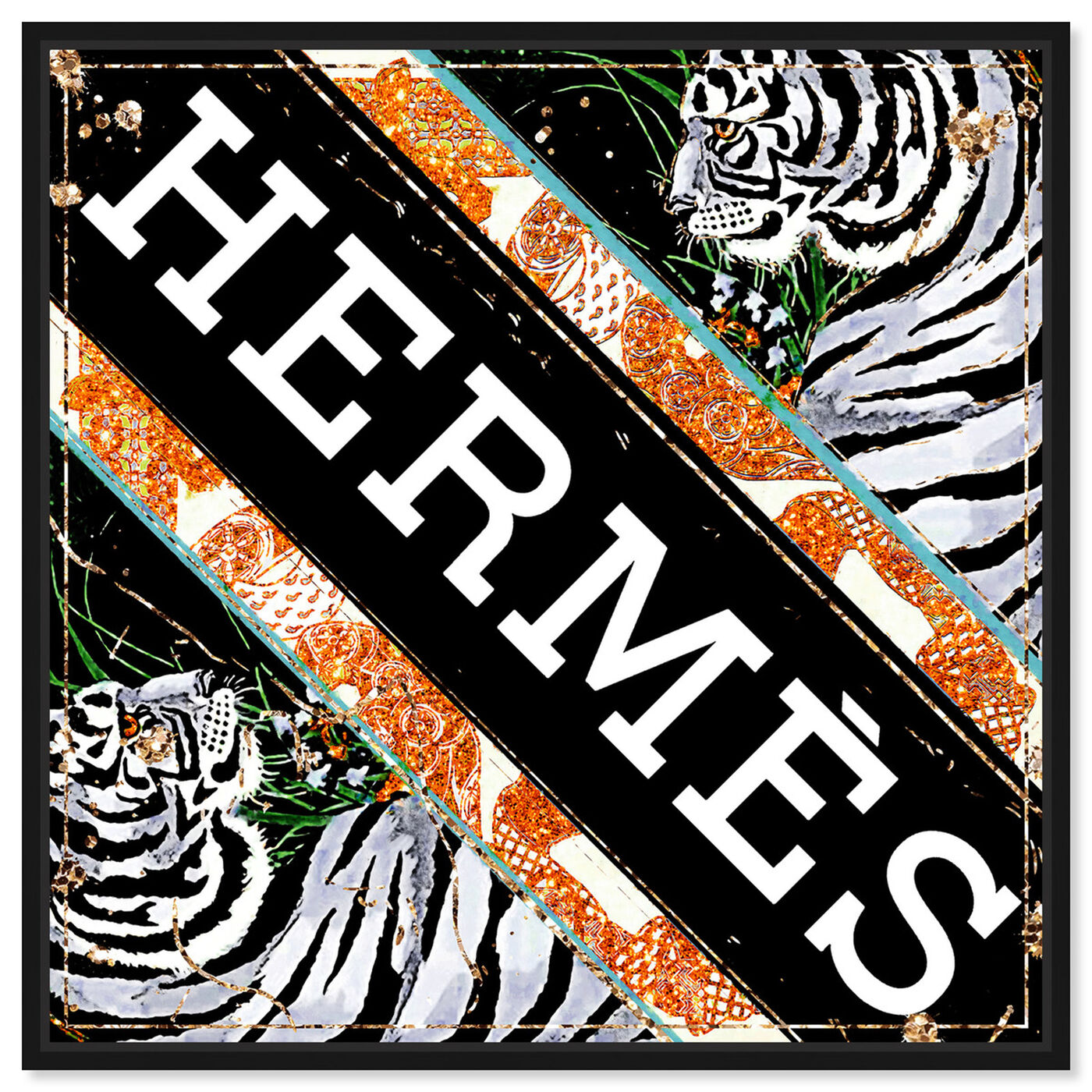 Front view of Jungle Tiger Scarf featuring fashion and glam and road signs art.