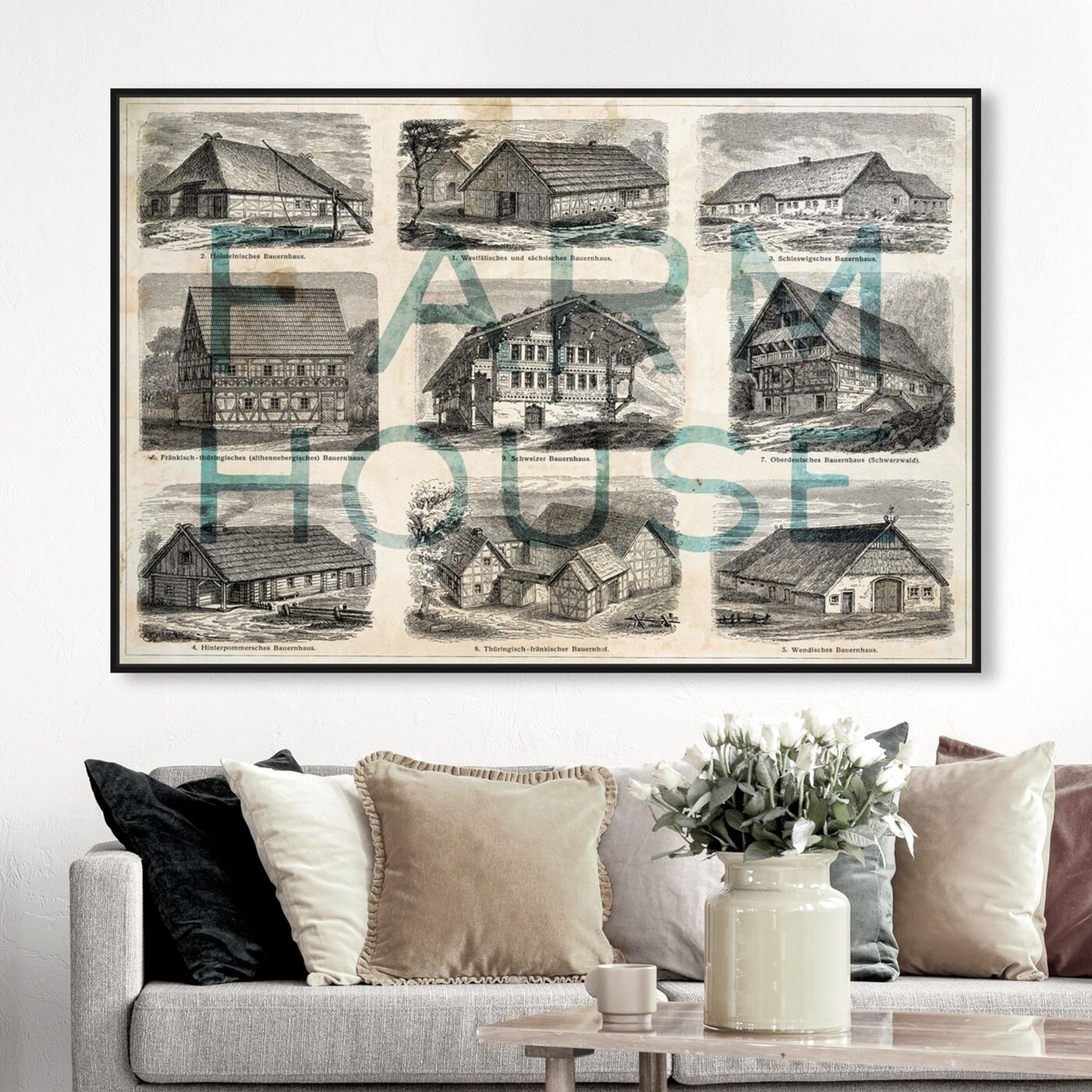 Hanging view of Farmhouse featuring nature and landscape and country landscapes art.