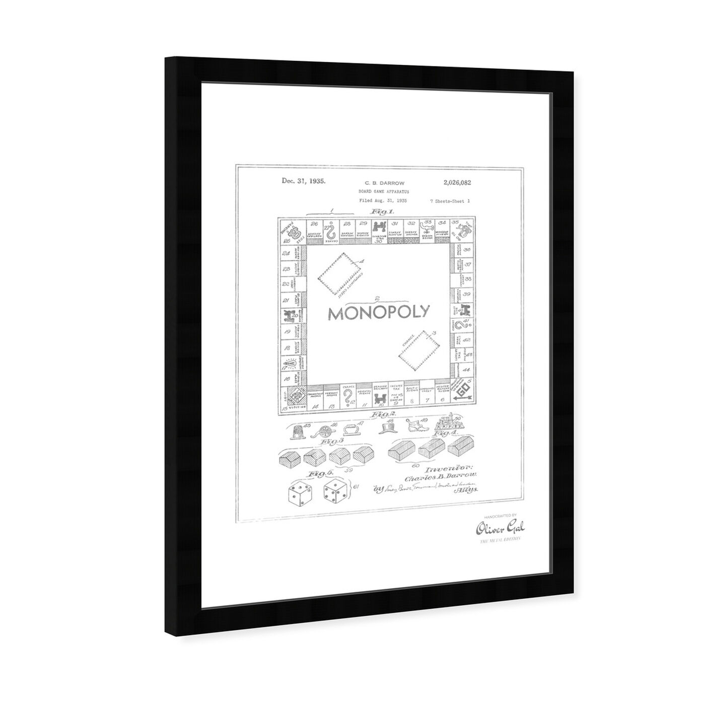 Angled view of Monopoly 1935, Silver Foil featuring entertainment and hobbies and board games art.