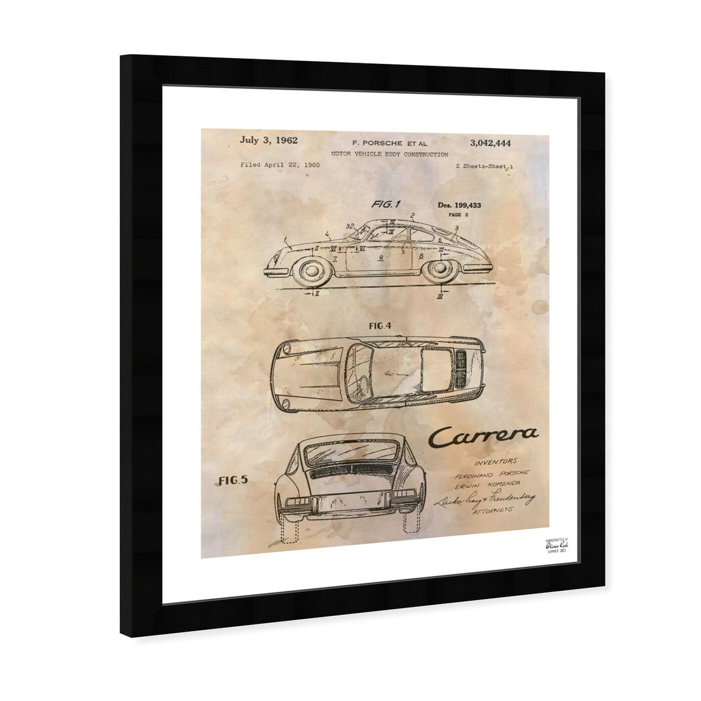 Angled view of Carrera Porsche 1962 - Cream featuring transportation and automobiles art.