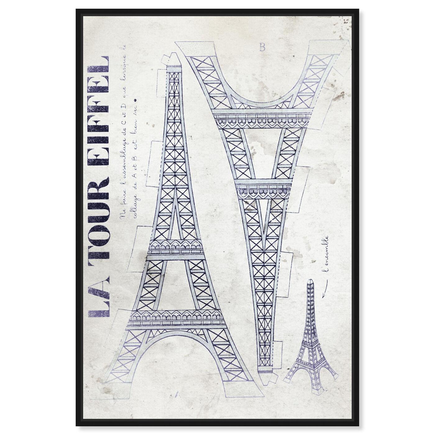 Front view of La Tour Eiffel Monochrome featuring architecture and buildings and european buildings art.