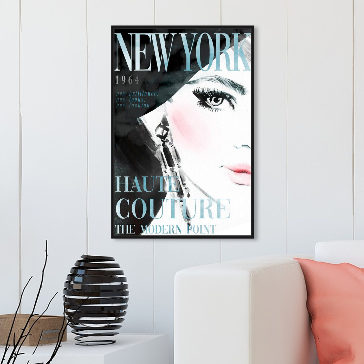 Hanging view of Cover New York Aqua featuring advertising and publications art.