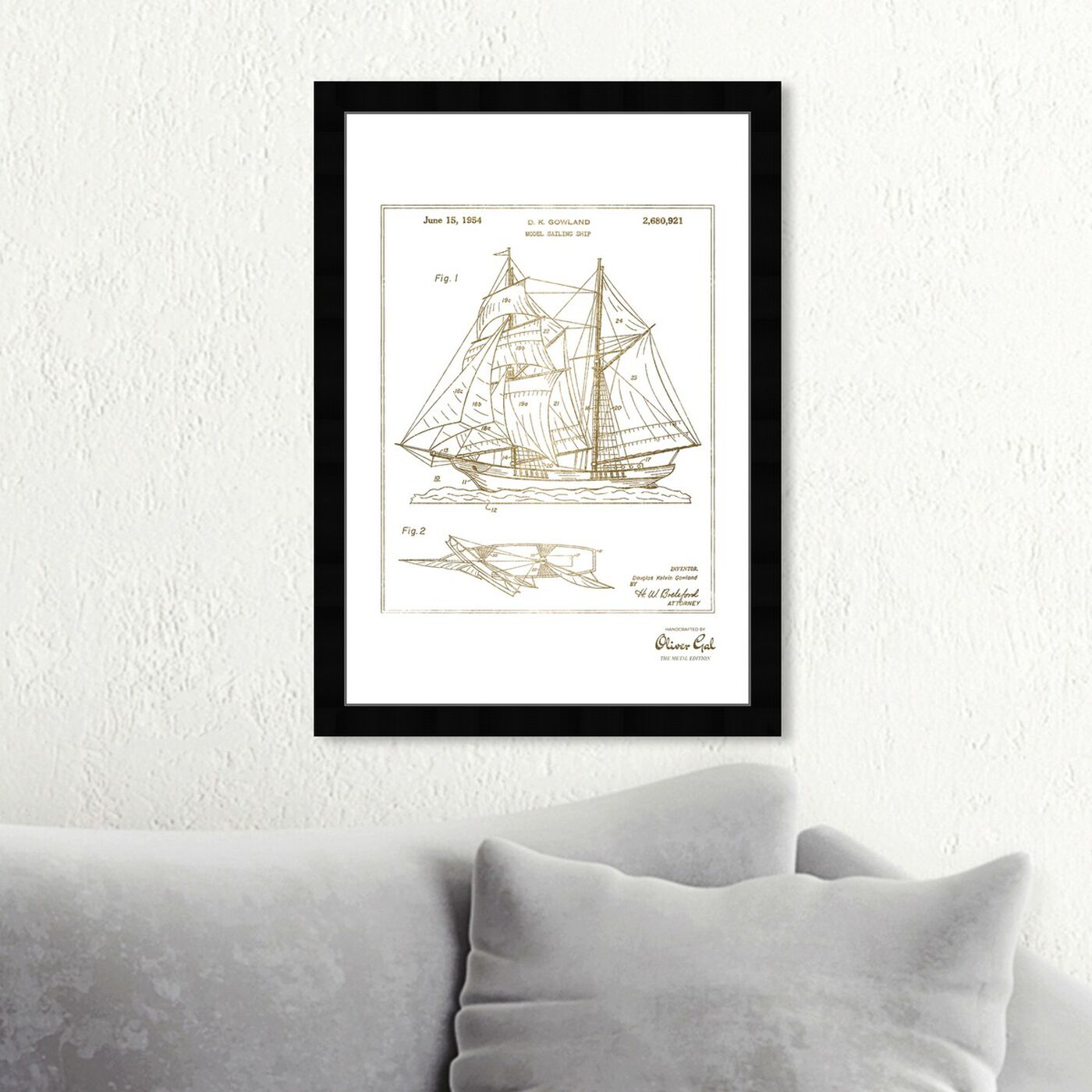 Hanging view of Model Sailing Ship 1954 II Gold featuring nautical and coastal and nautical watercrafts art.