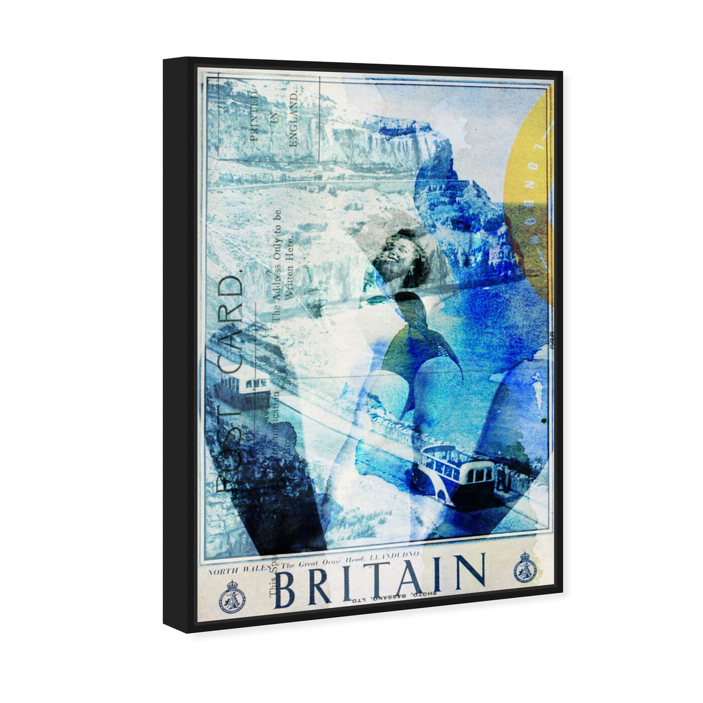 Angled view of Britain featuring advertising and posters art.
