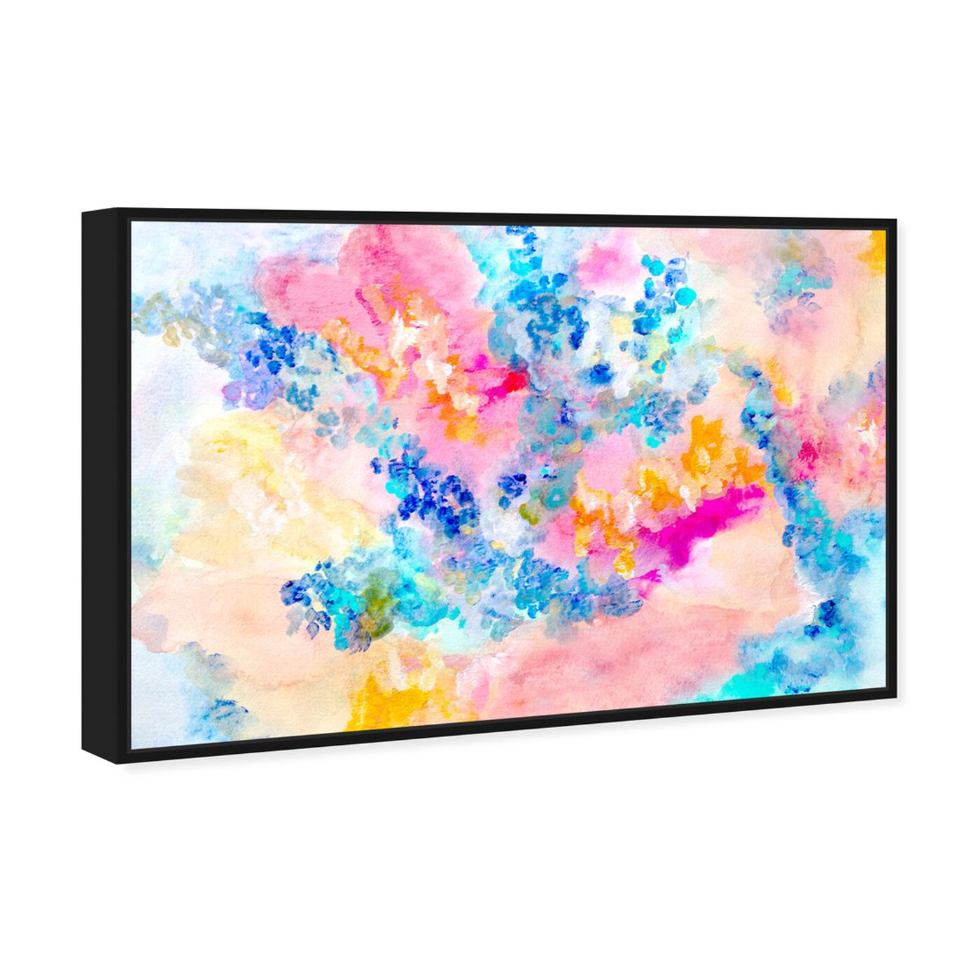 Angled view of Rainbow Tint Florals featuring abstract and watercolor art.