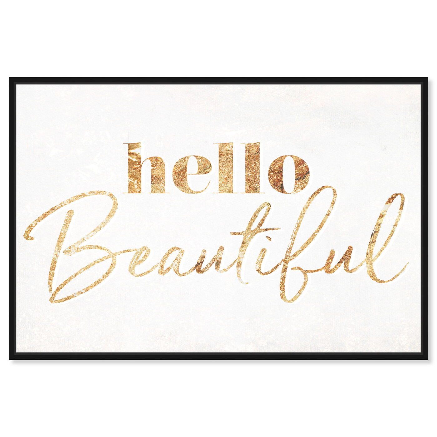 Front view of Hello Beautiful Gold Vertical featuring typography and quotes and beauty quotes and sayings art.