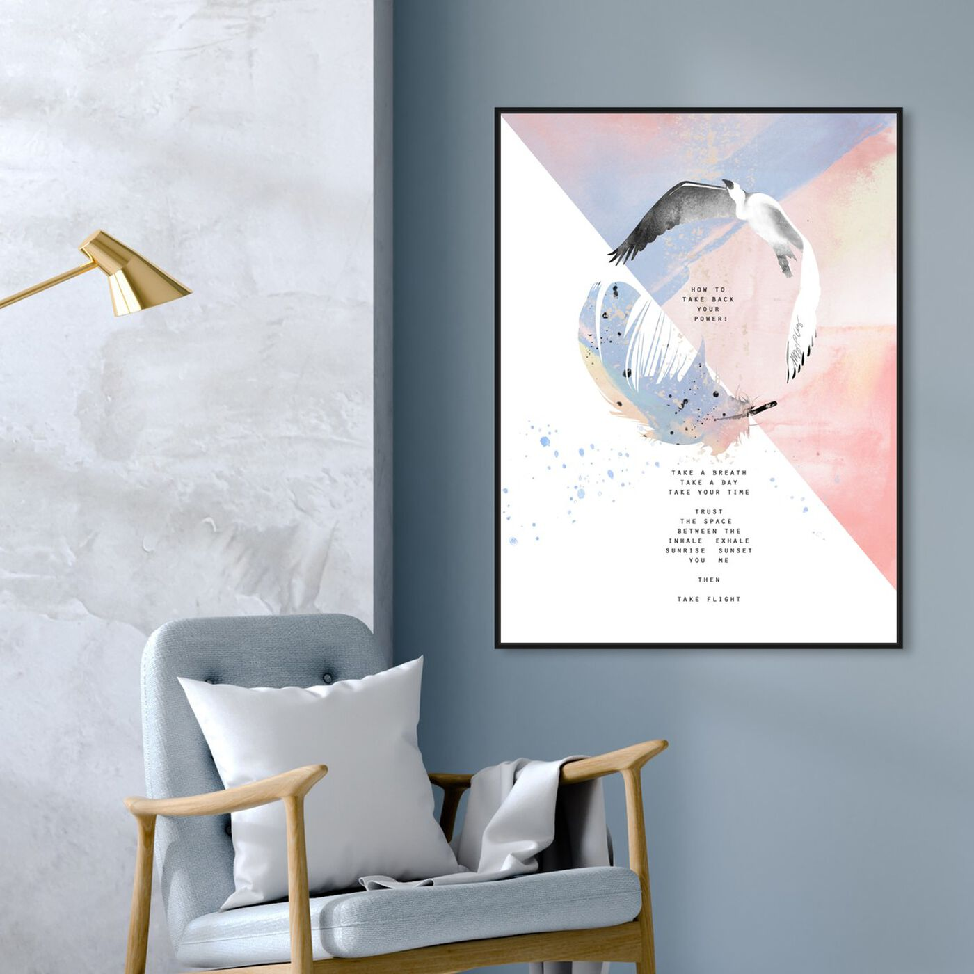 Hanging view of Feather Heron by Maggie P. Chang featuring animals and birds art.
