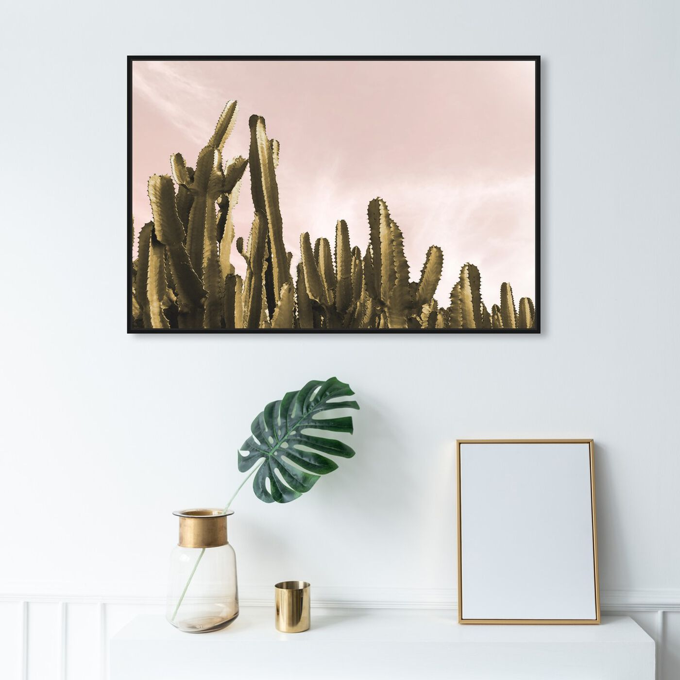 Hanging view of Dream Landscape Cactus featuring floral and botanical and botanicals art.