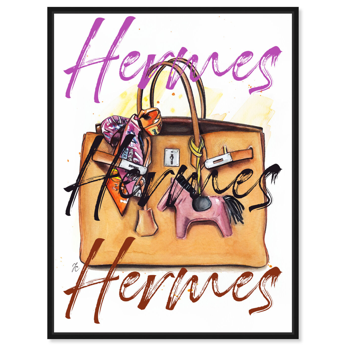 Front view of Doll Memories - Orange Bag II featuring fashion and glam and handbags art.