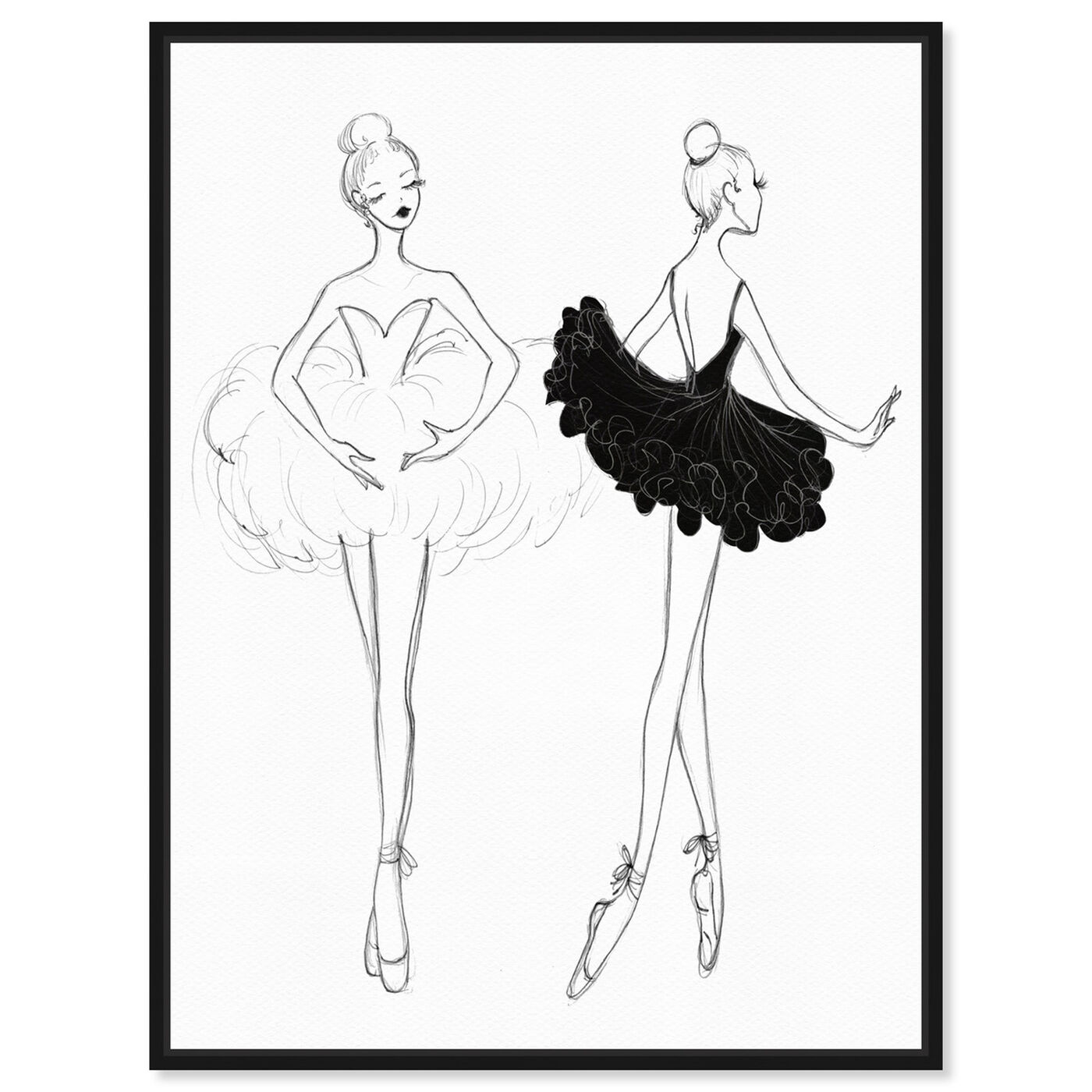 Front view of Ballerina Sketch IV featuring sports and teams and ballet art.