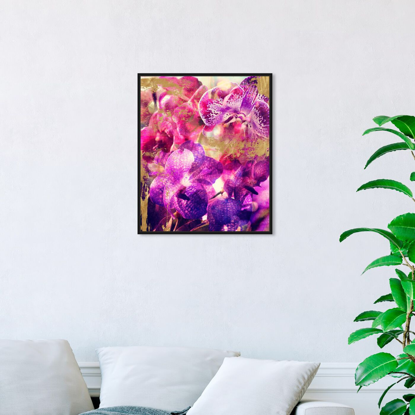 Hanging view of Orchid Gold featuring floral and botanical and florals art.