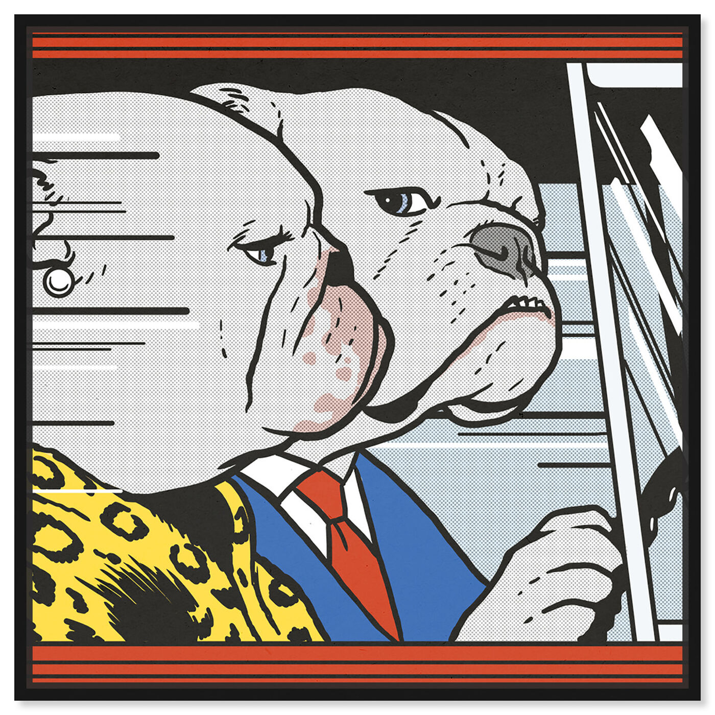 Front view of Car Ride by Carson Kressley featuring animals and dogs and puppies art.