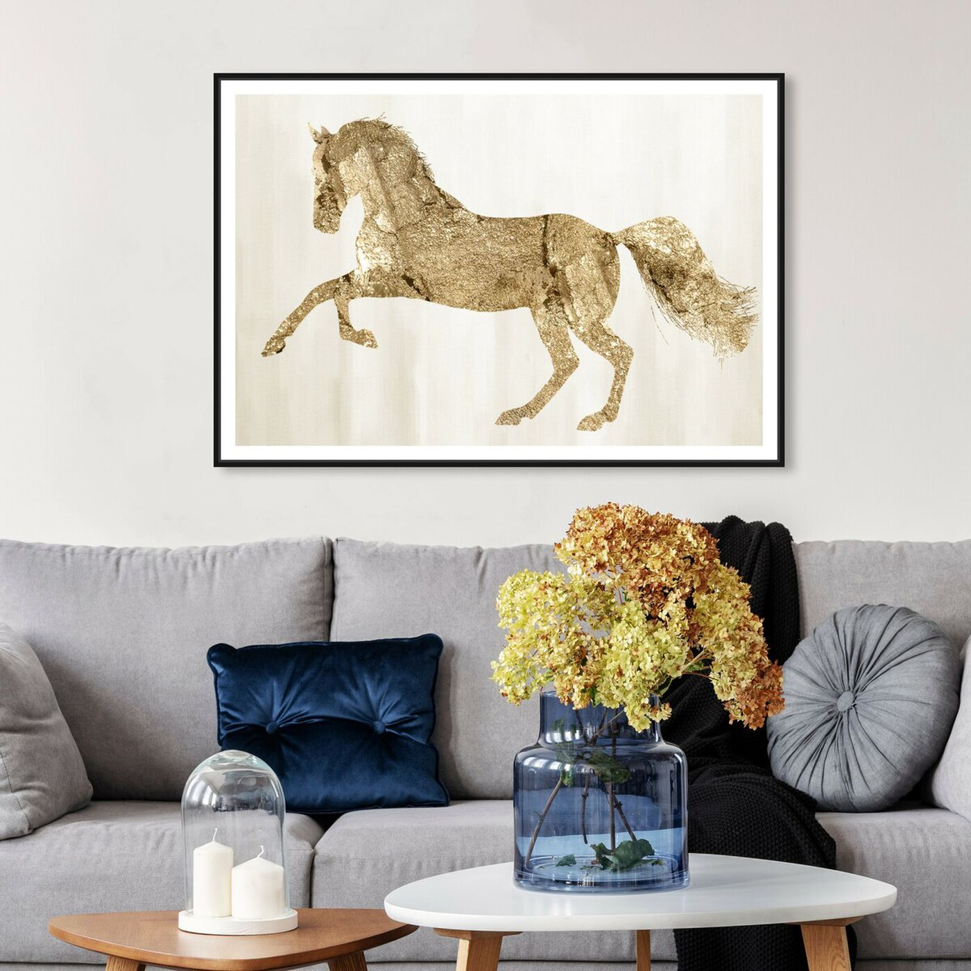 Hanging view of Gold Wild and Free featuring animals and farm animals art.