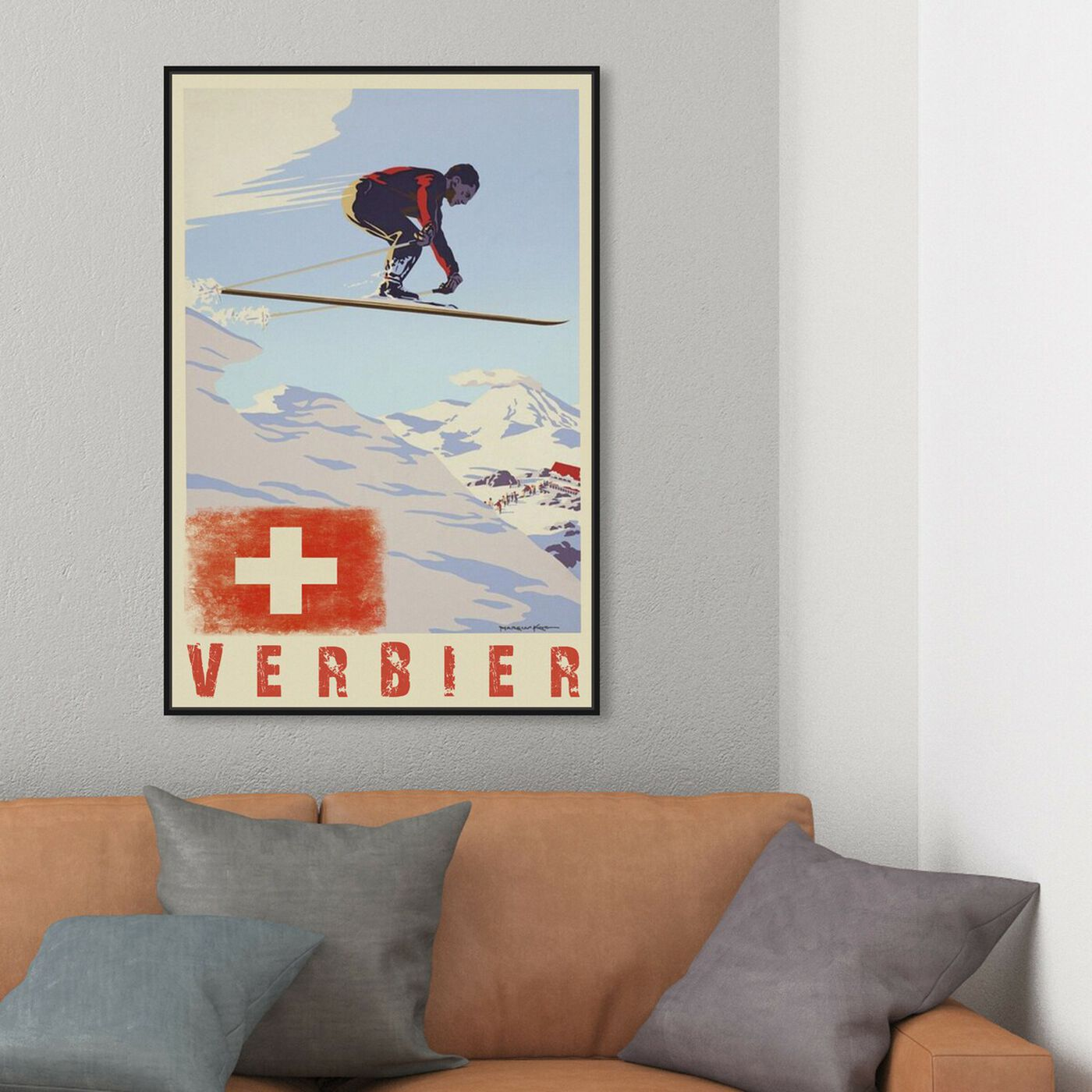 Hanging view of Verbier featuring advertising and posters art.
