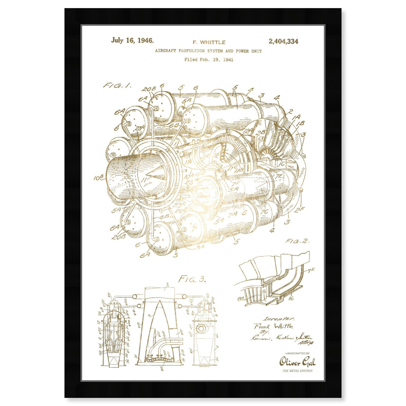 Front view of Aircraft Jet Engine 1946 I featuring transportation and air transportation art.