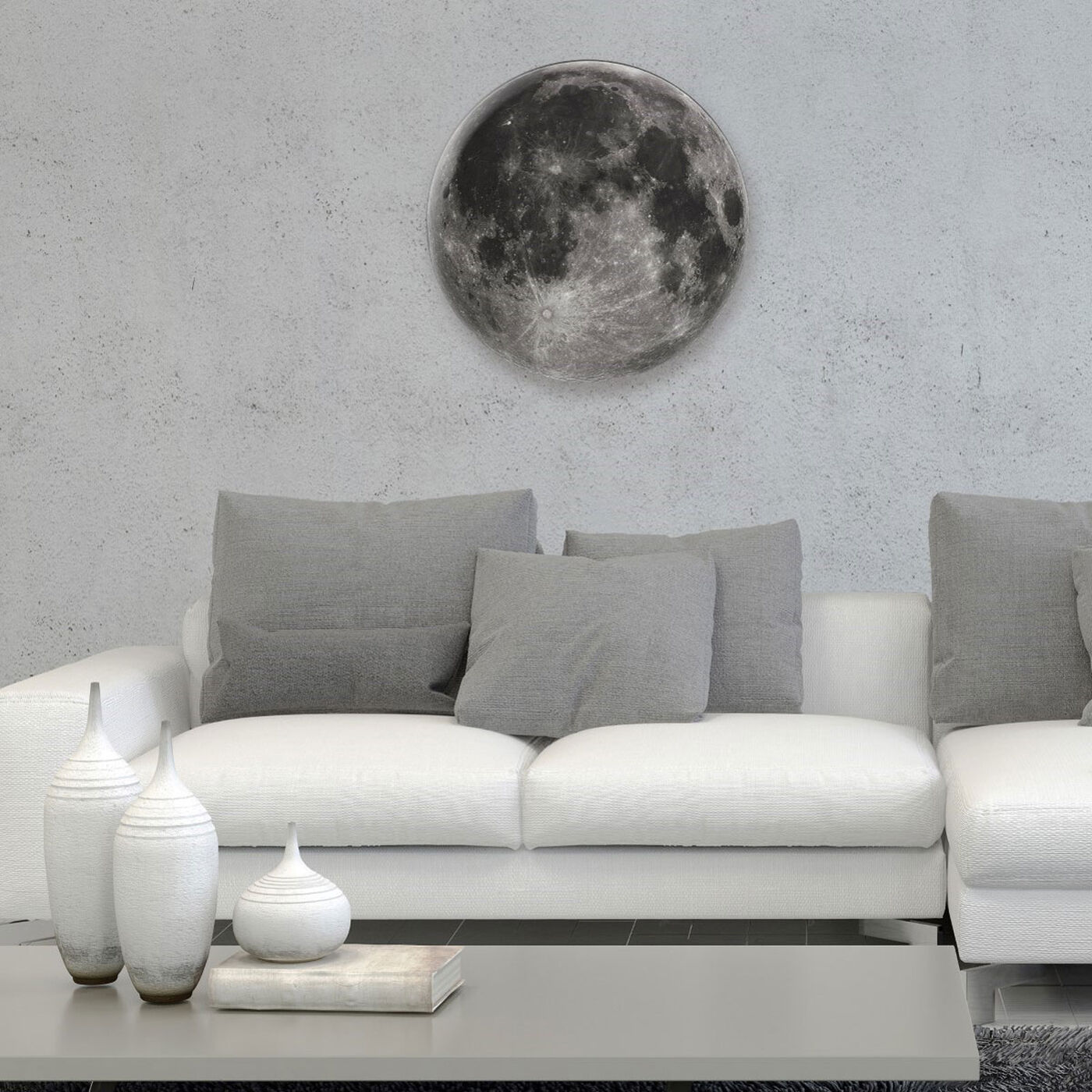 Hanging view of Moon I featuring astronomy and space and moons phases art.