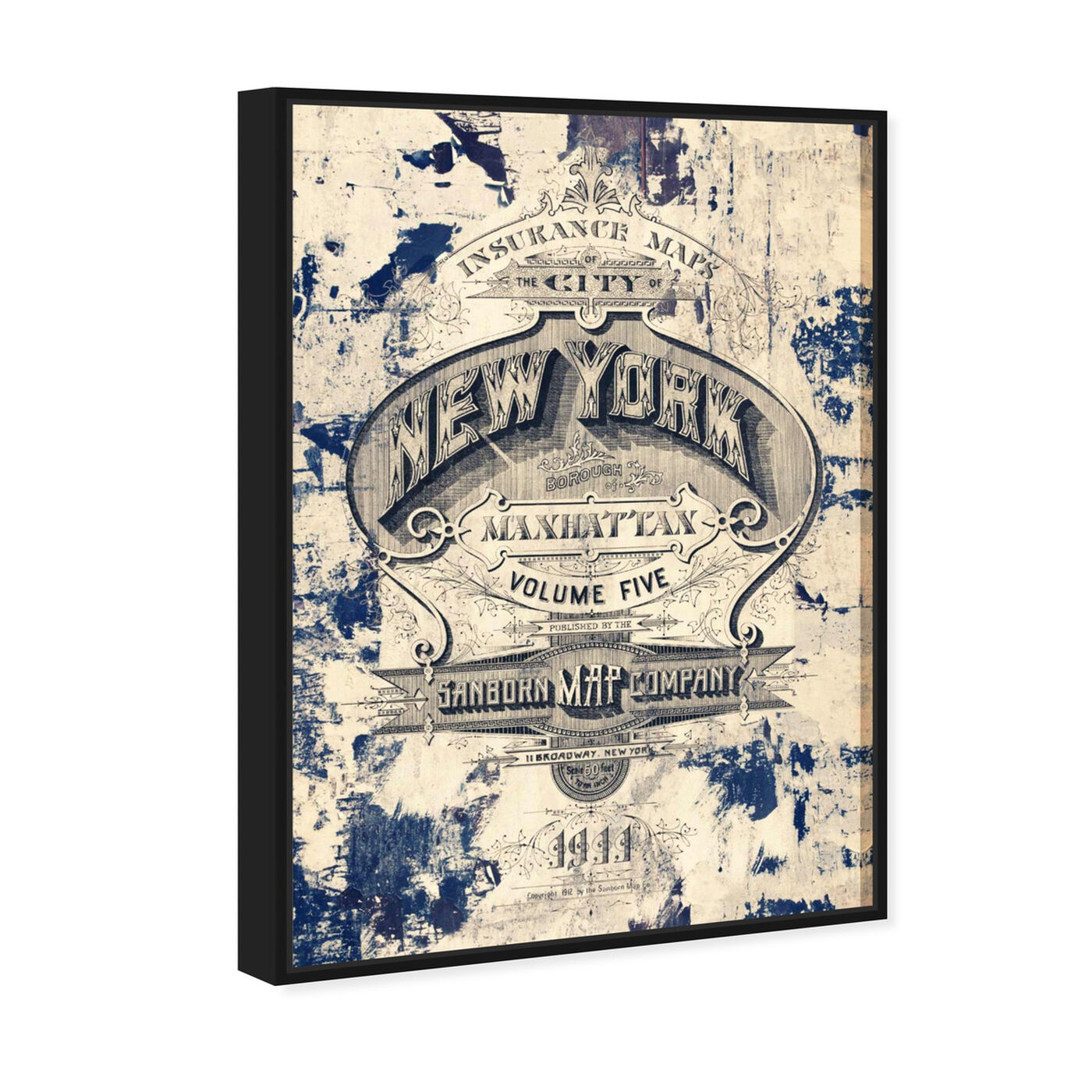 Angled view of New York Insurance featuring advertising and posters art.