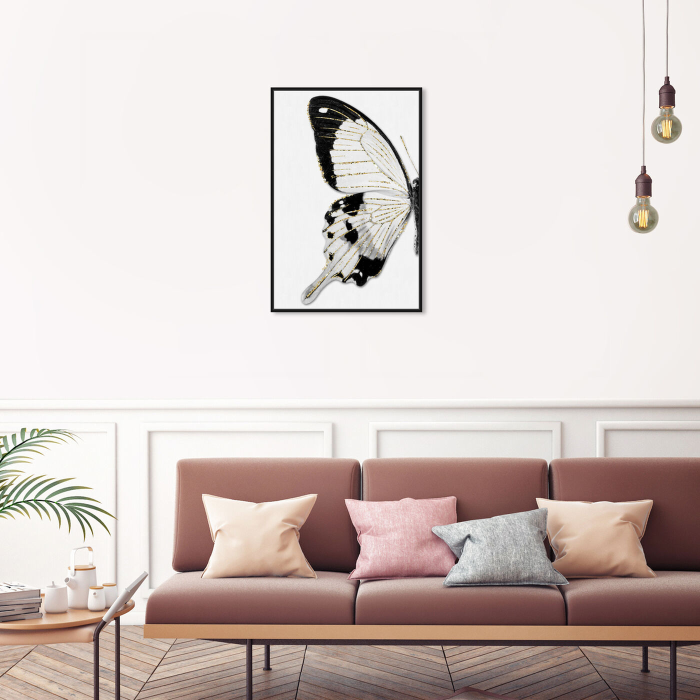 Hanging view of Monochrome Glitter Butterfly II featuring animals and insects art.