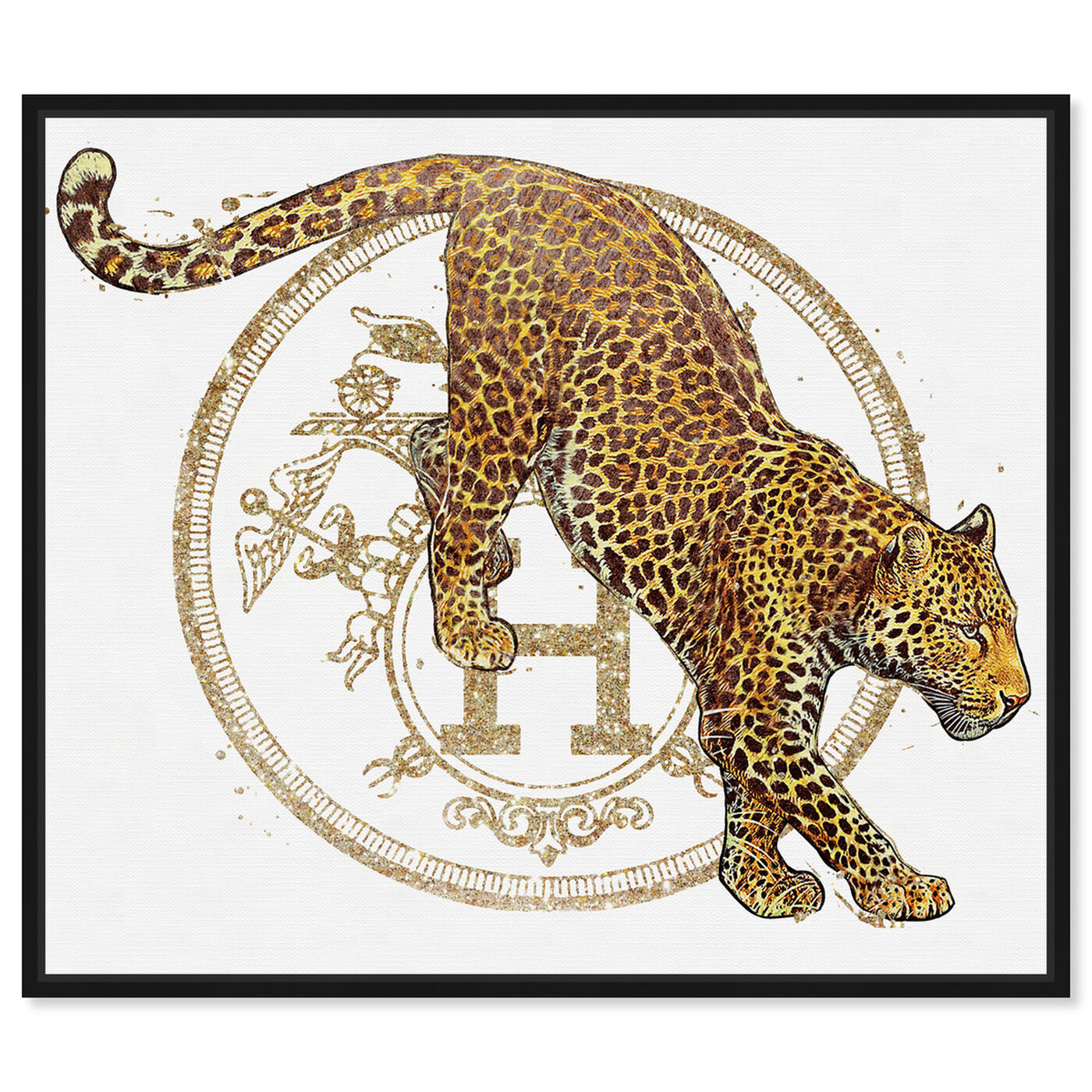 Front view of French Jaguar Pounce featuring fashion and glam and fashion lifestyle art.