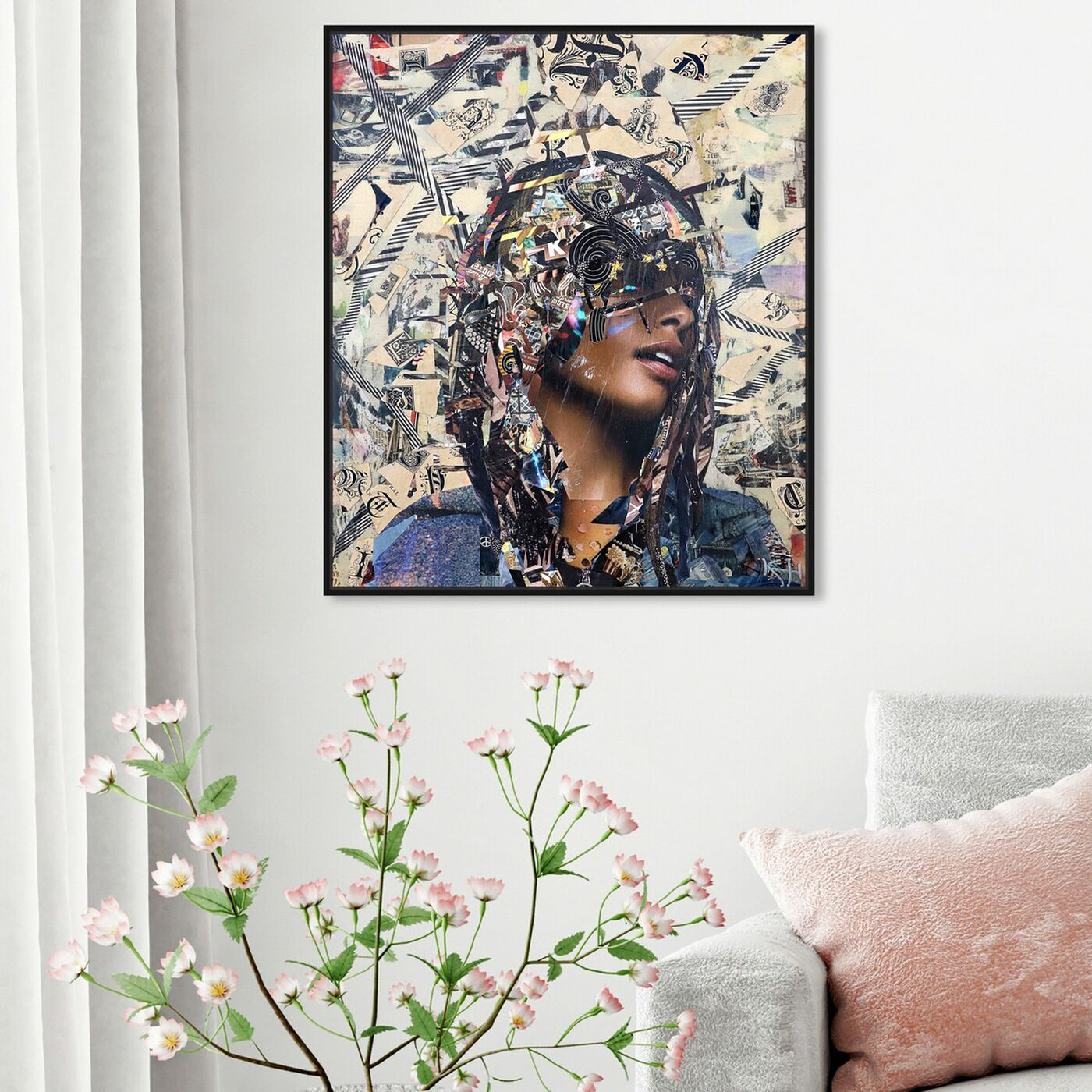 Hanging view of Katy Hirschfeld - Denim Classic Print featuring fashion and glam and portraits art.