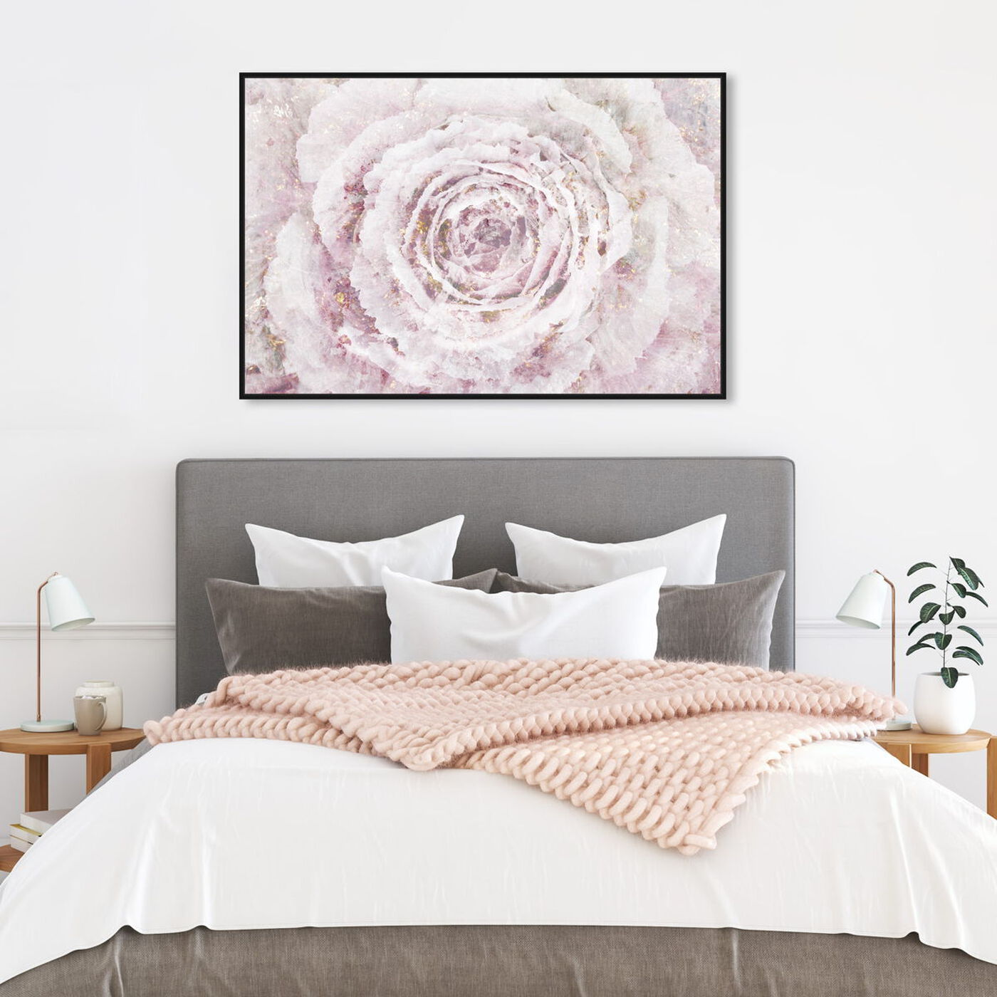 Hanging view of Blush Winter Flower Amethyst featuring floral and botanical and florals art.
