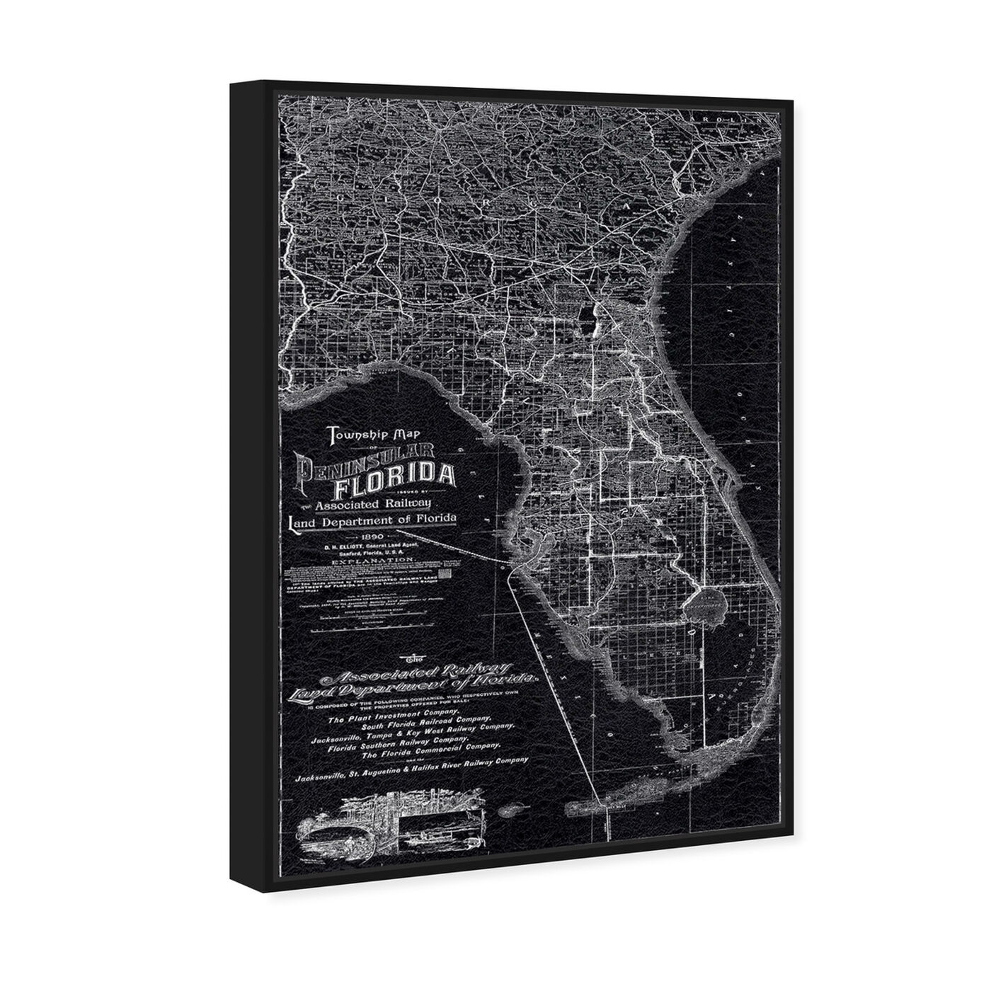 Angled view of Florida Map 1890 featuring maps and flags and us states maps art.