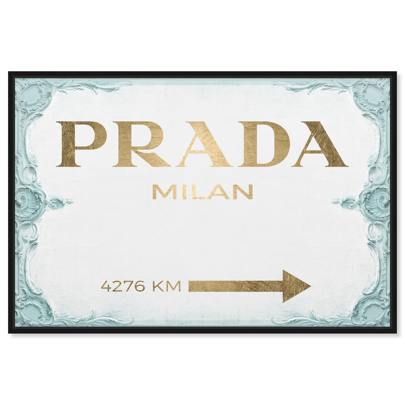 Front view of Milan Sign Aqua Gold featuring fashion and glam and road signs art.