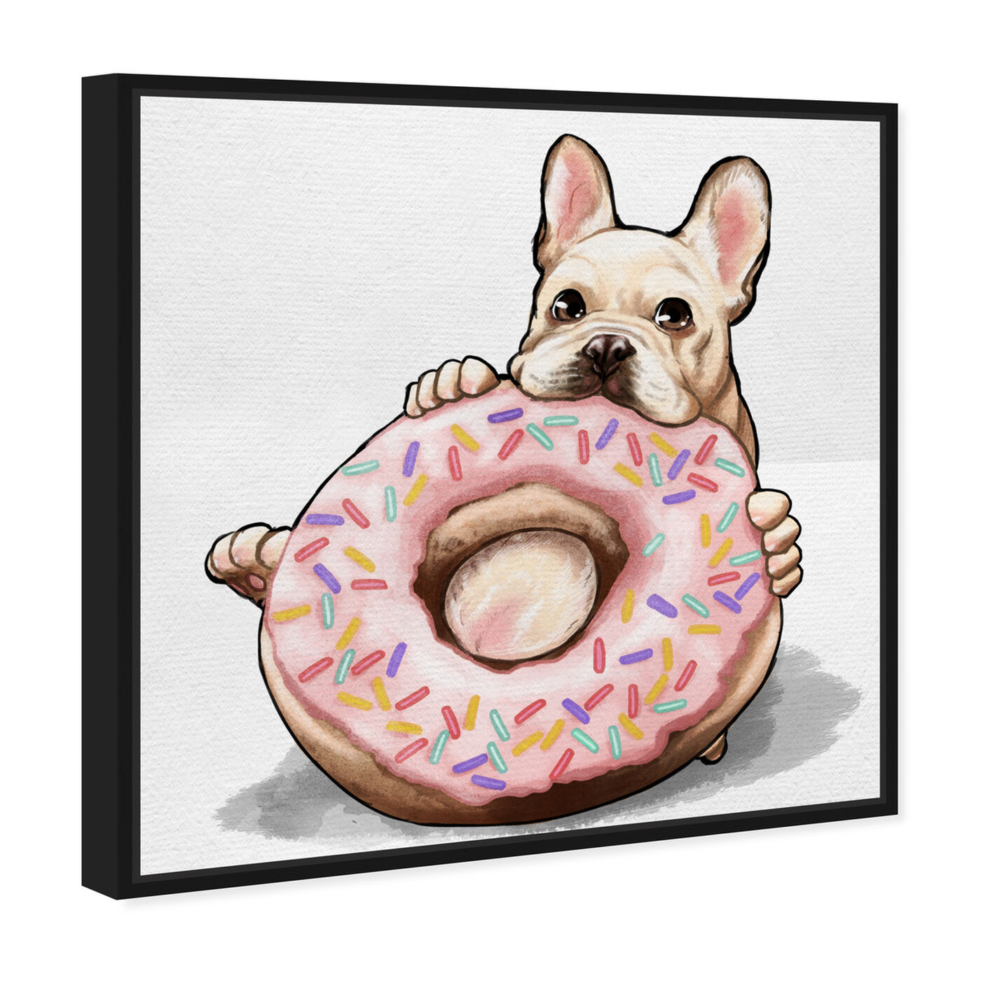 Angled view of Donut Frenchie featuring animals and dogs and puppies art.