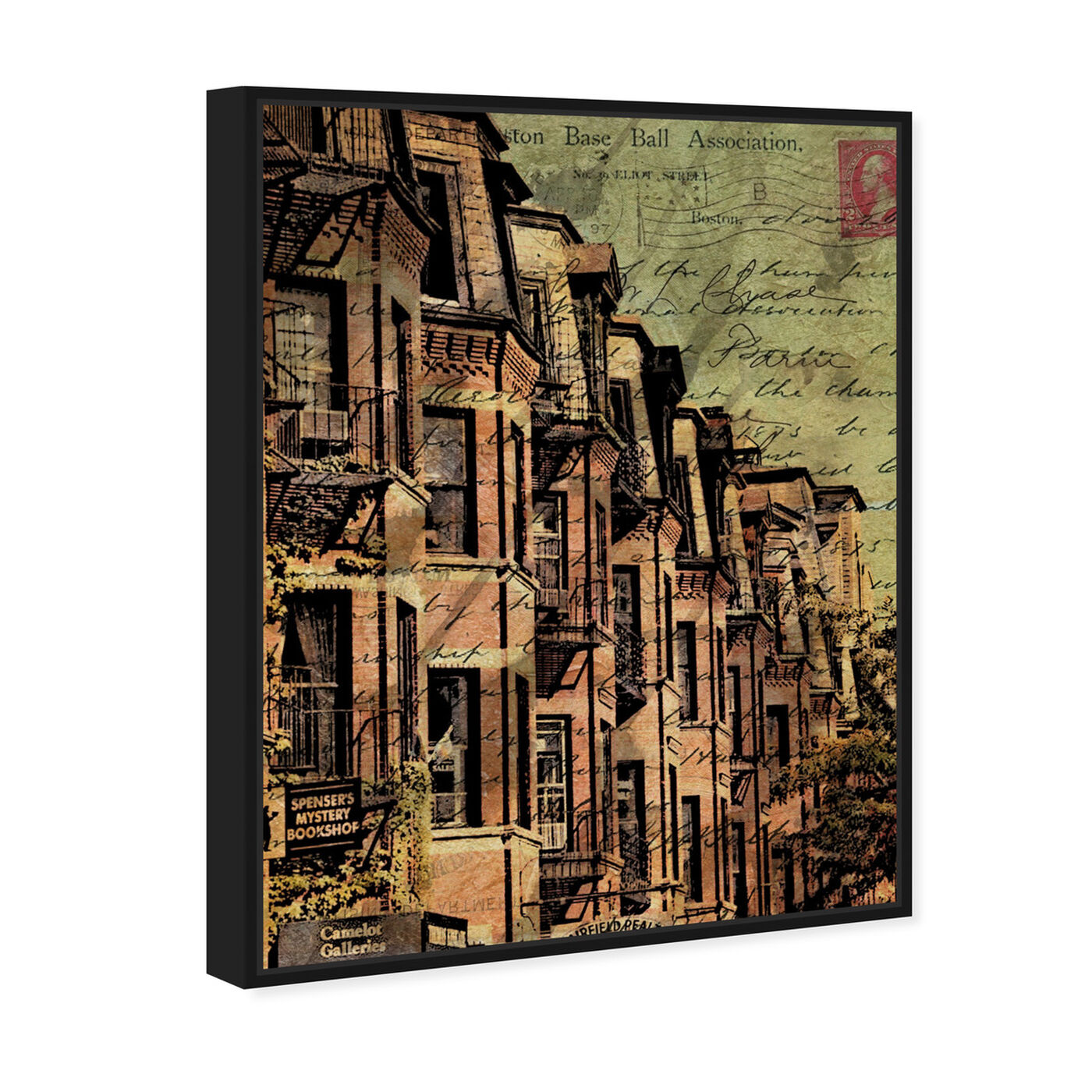 Angled view of Boston Brownstone featuring cities and skylines and united states cities art.