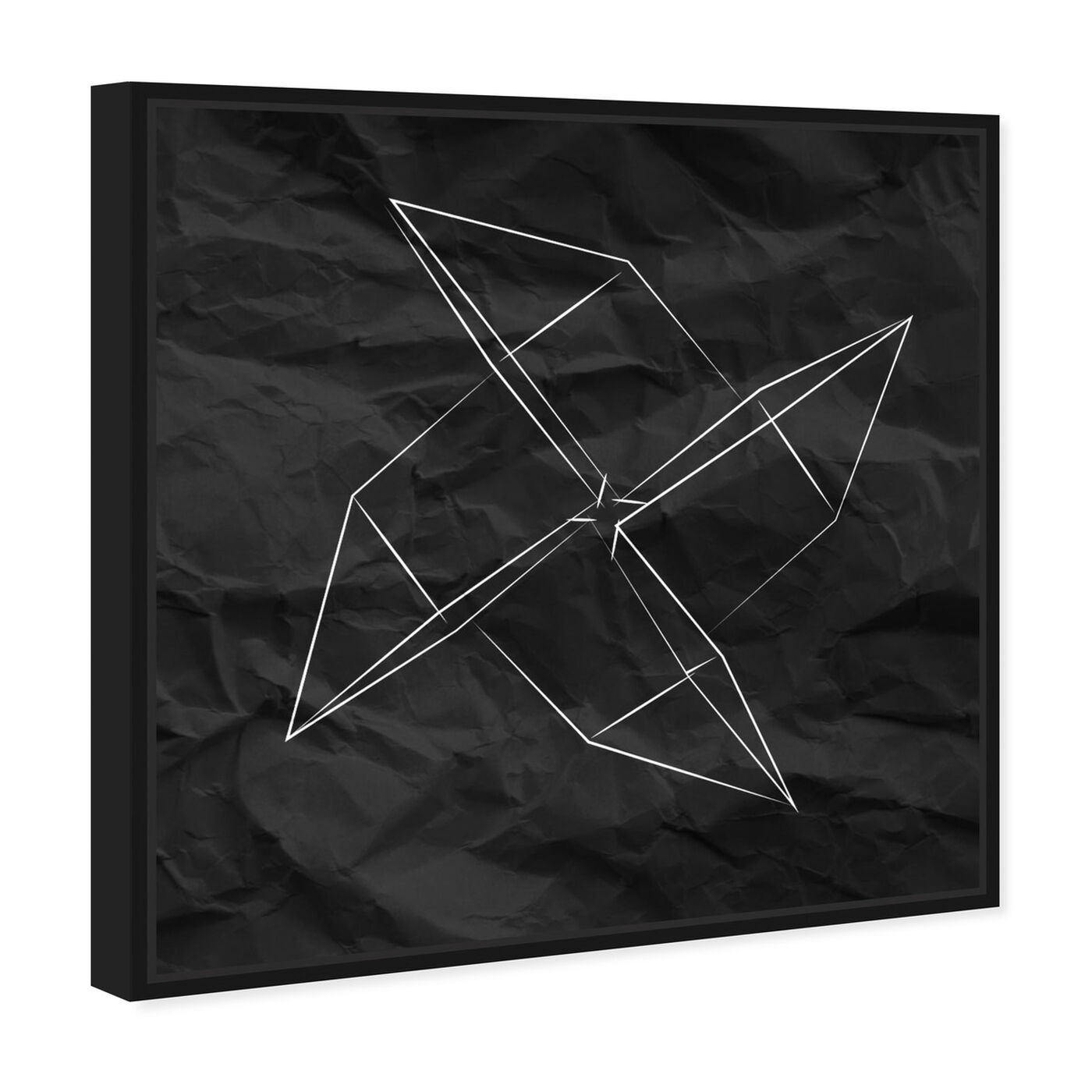 Angled view of Origami Moulin featuring abstract and geometric art.