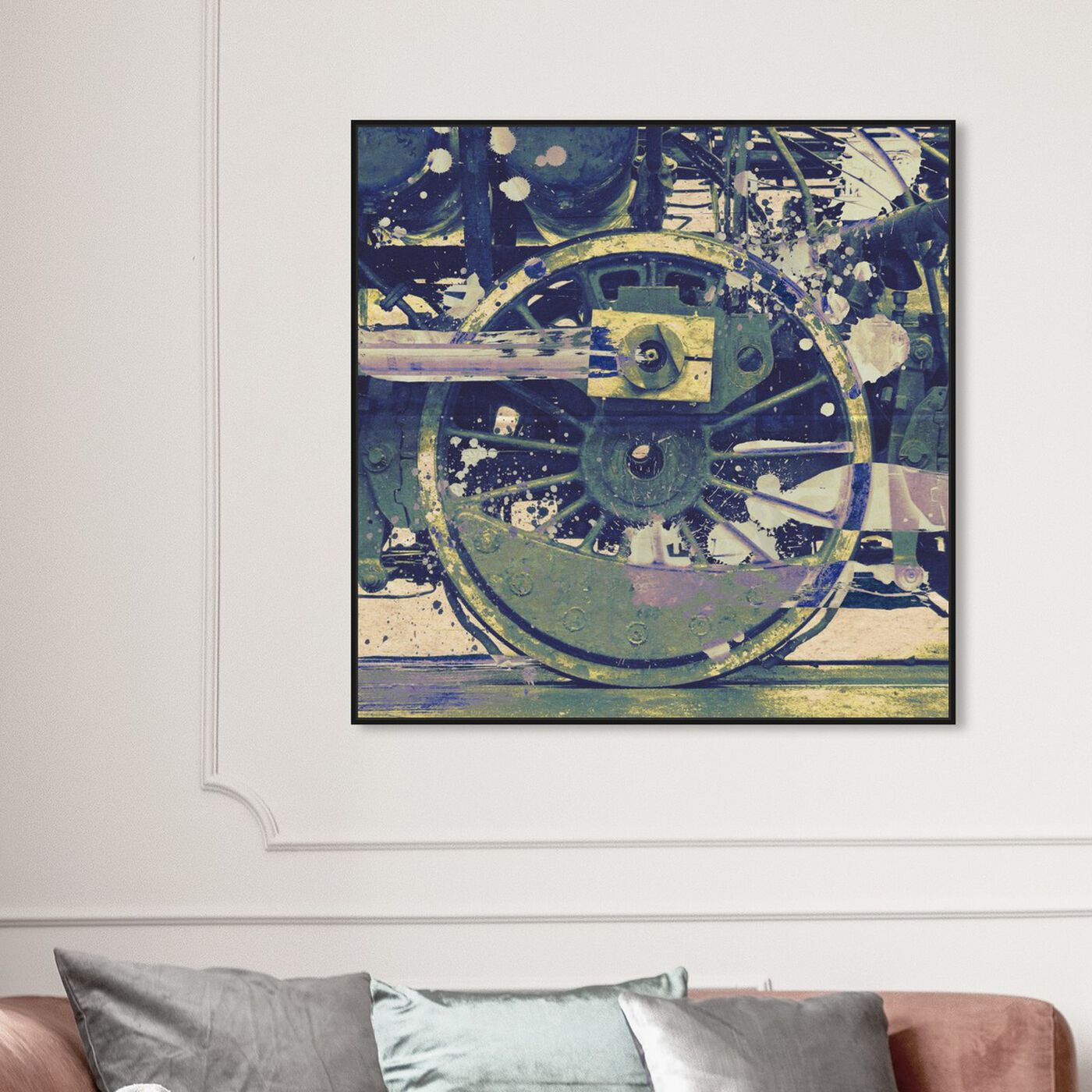 Hanging view of Wheel featuring transportation and trains art.