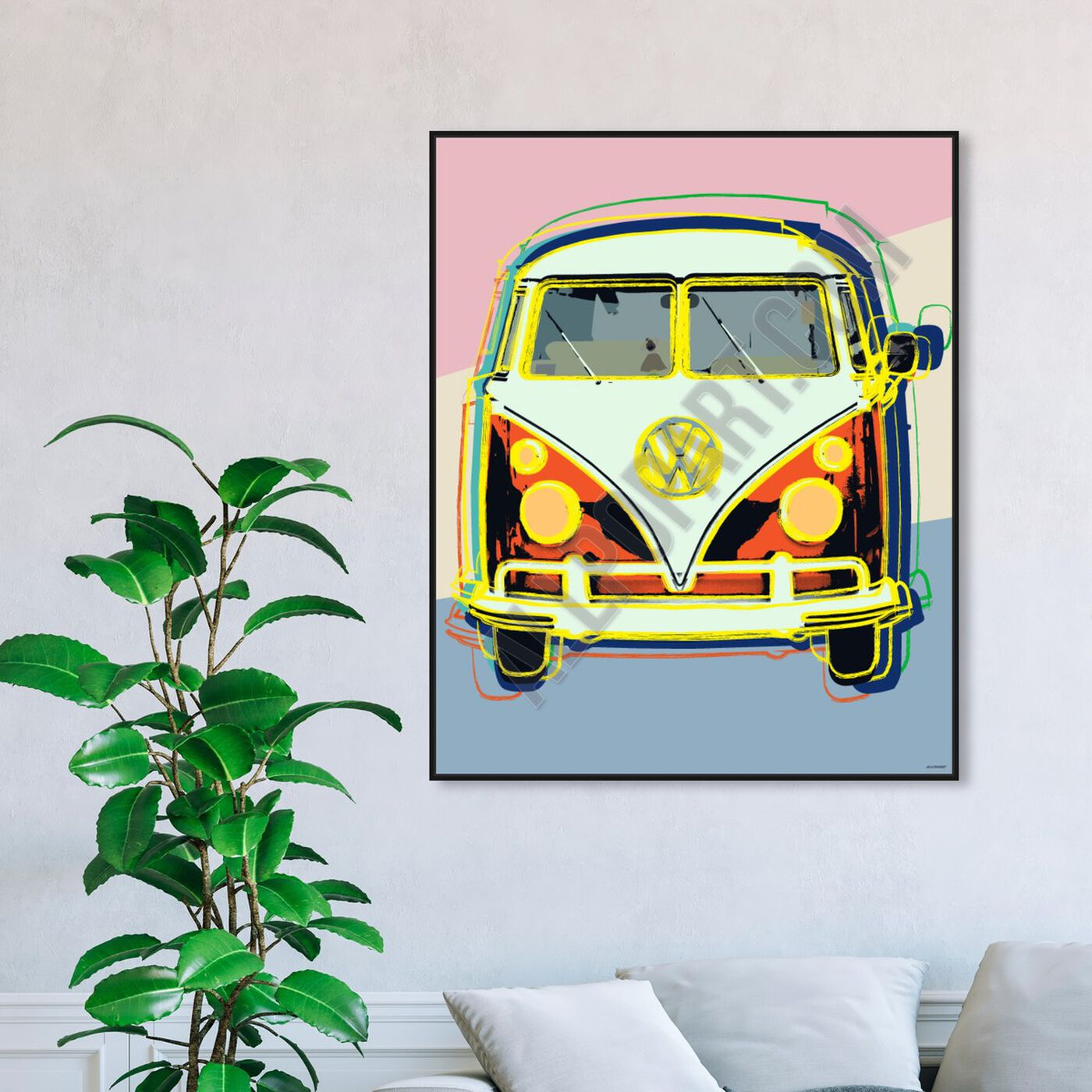 Hanging view of Classic Van featuring transportation and automobiles art.