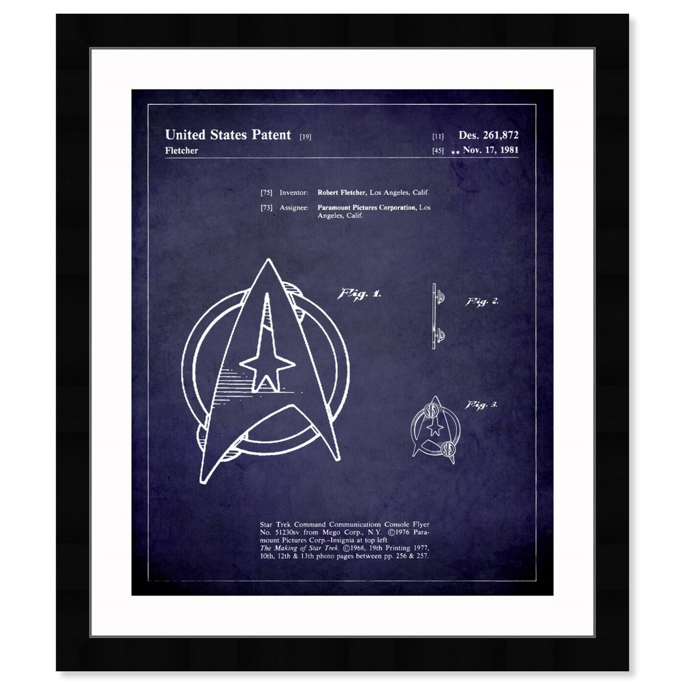Front view of Starfleet Insignia 1981 II featuring symbols and objects and toys art.
