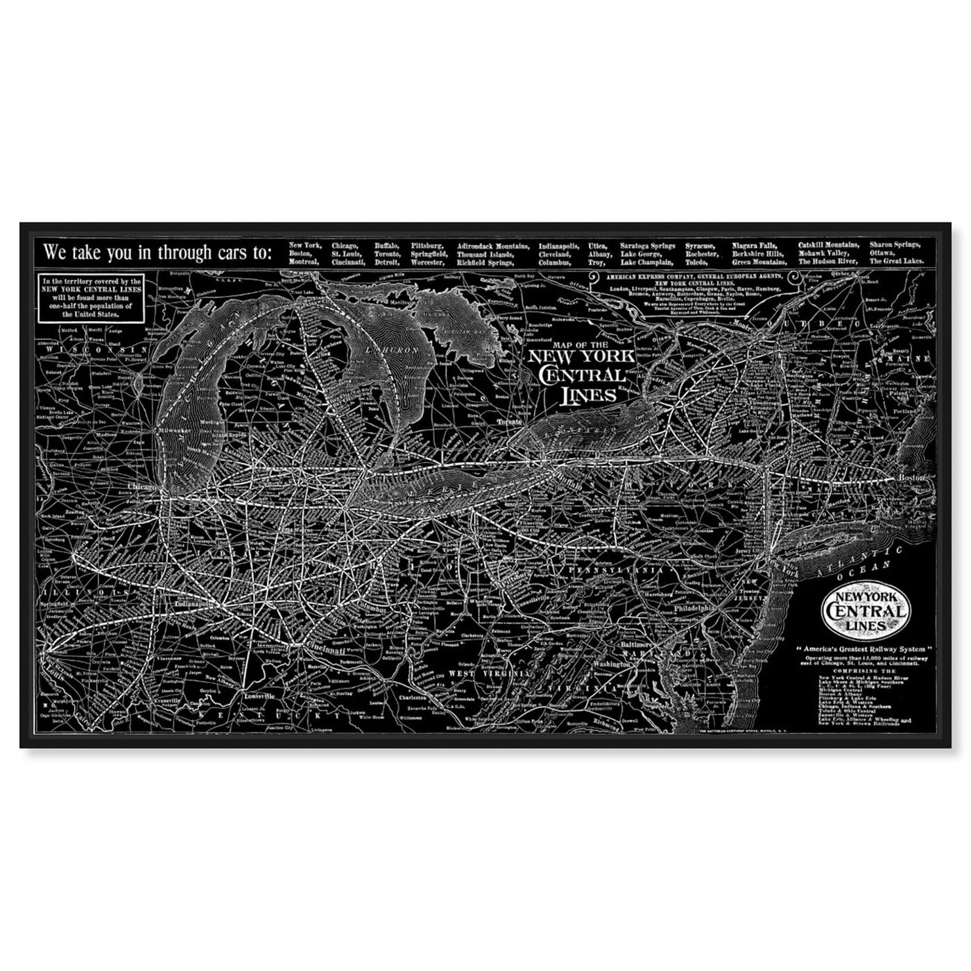 Front view of New York Central Lines Map 1918 featuring cities and skylines and united states cities art.
