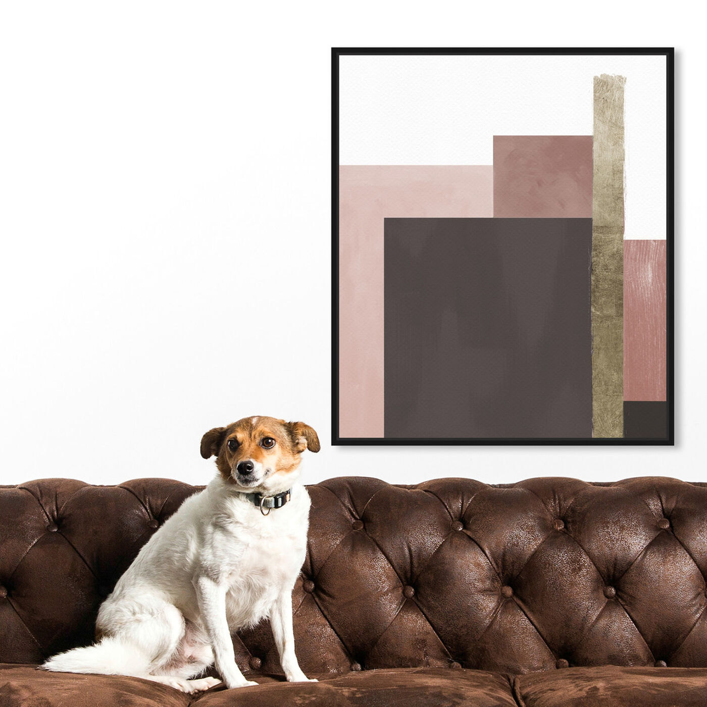 Hanging view of Me Boheme Neutral Champagne featuring abstract and geometric art.