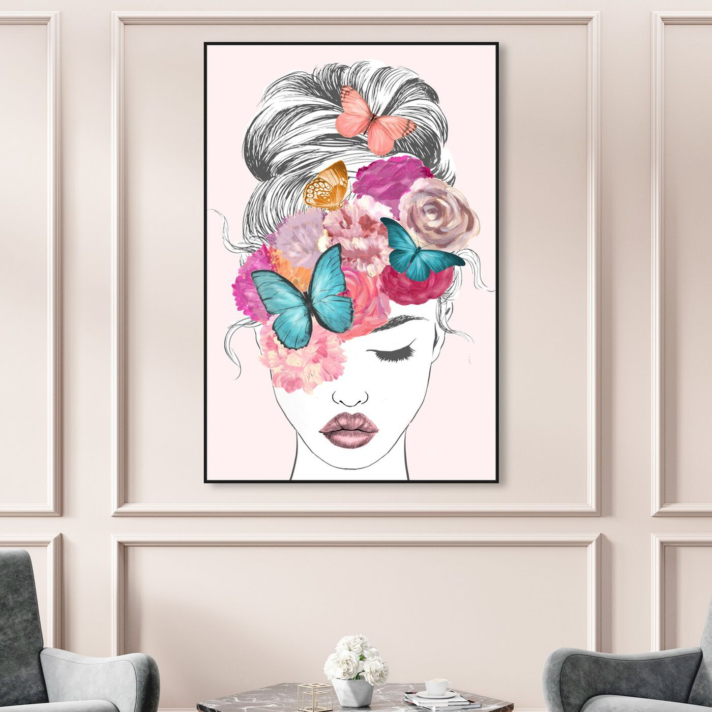 Hanging view of Butterflies in My Head featuring fashion and glam and portraits art.