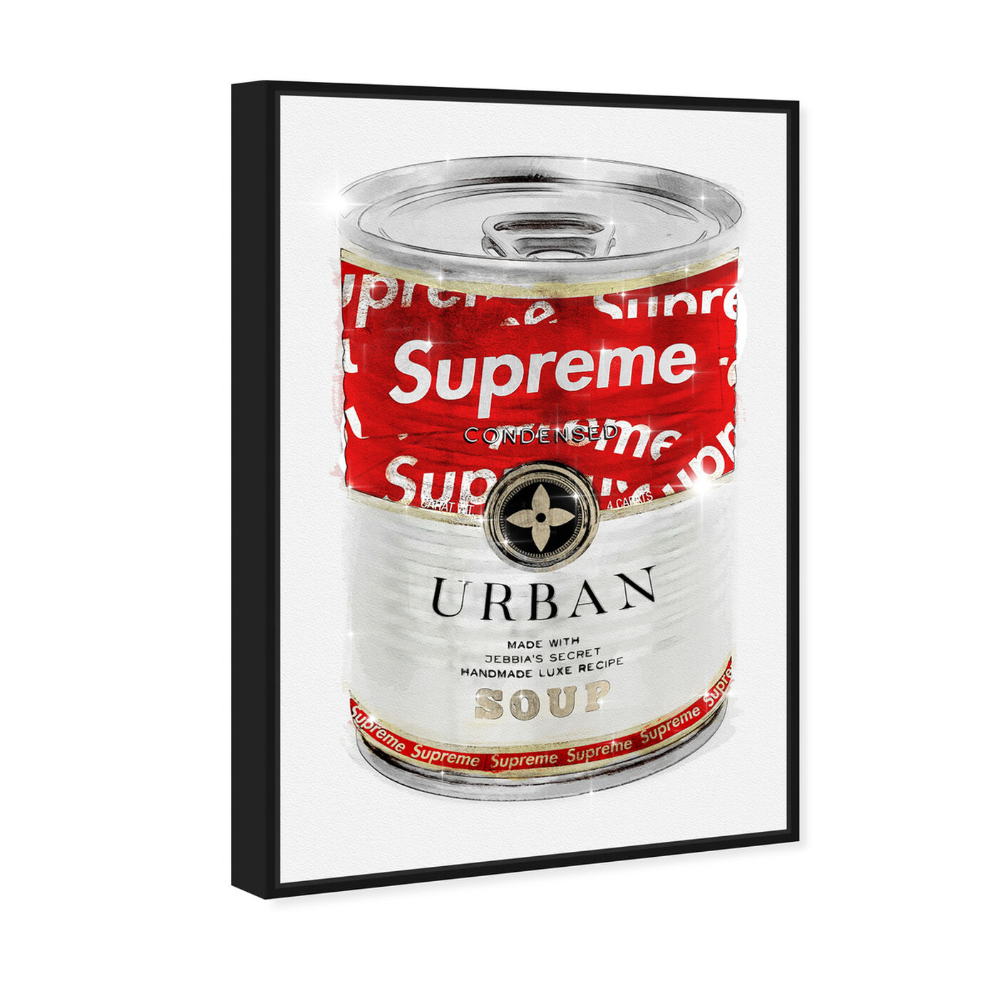 Angled view of Urban Hype Soup Can featuring fashion and glam and soup can art.