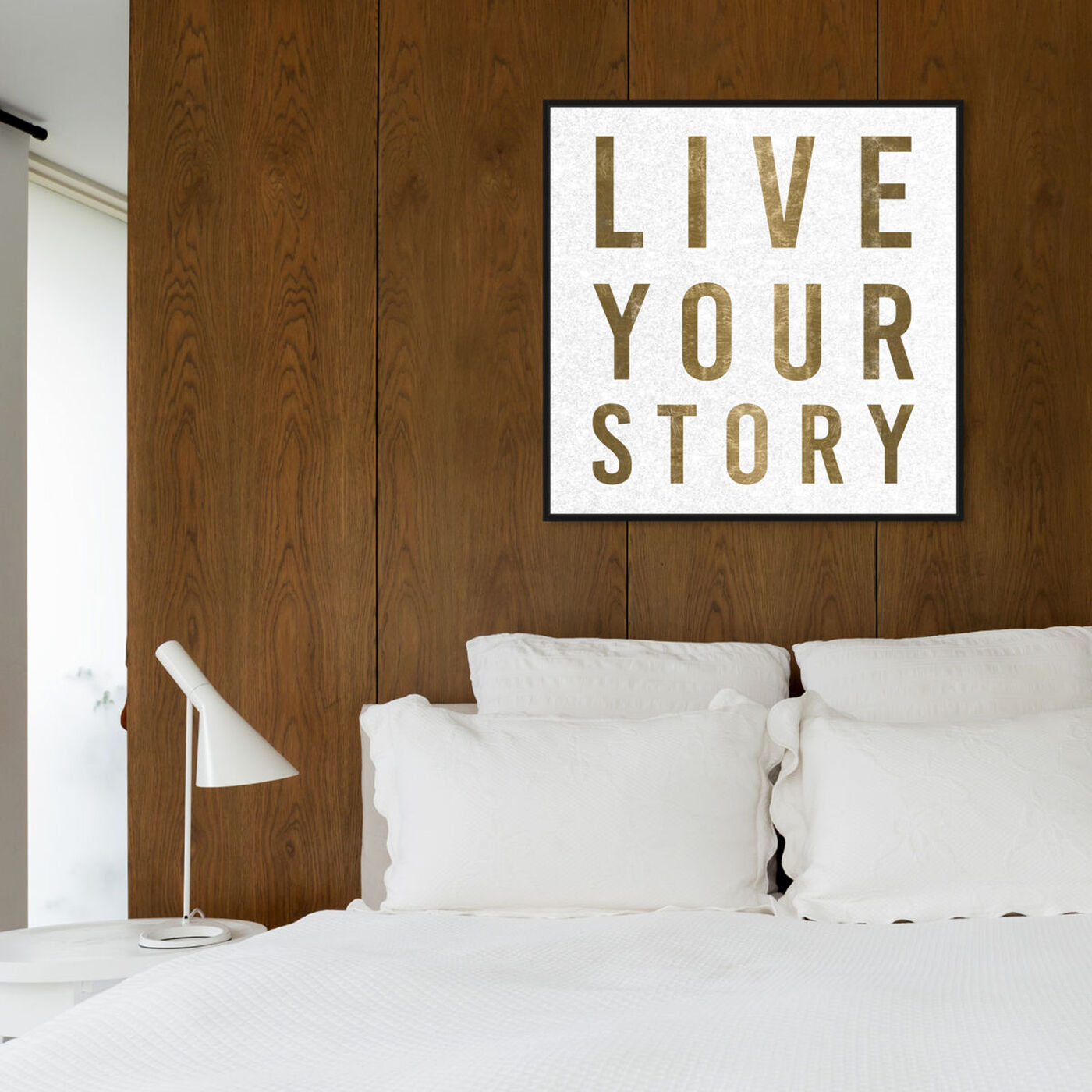 Hanging view of Live Your Story featuring typography and quotes and love quotes and sayings art.