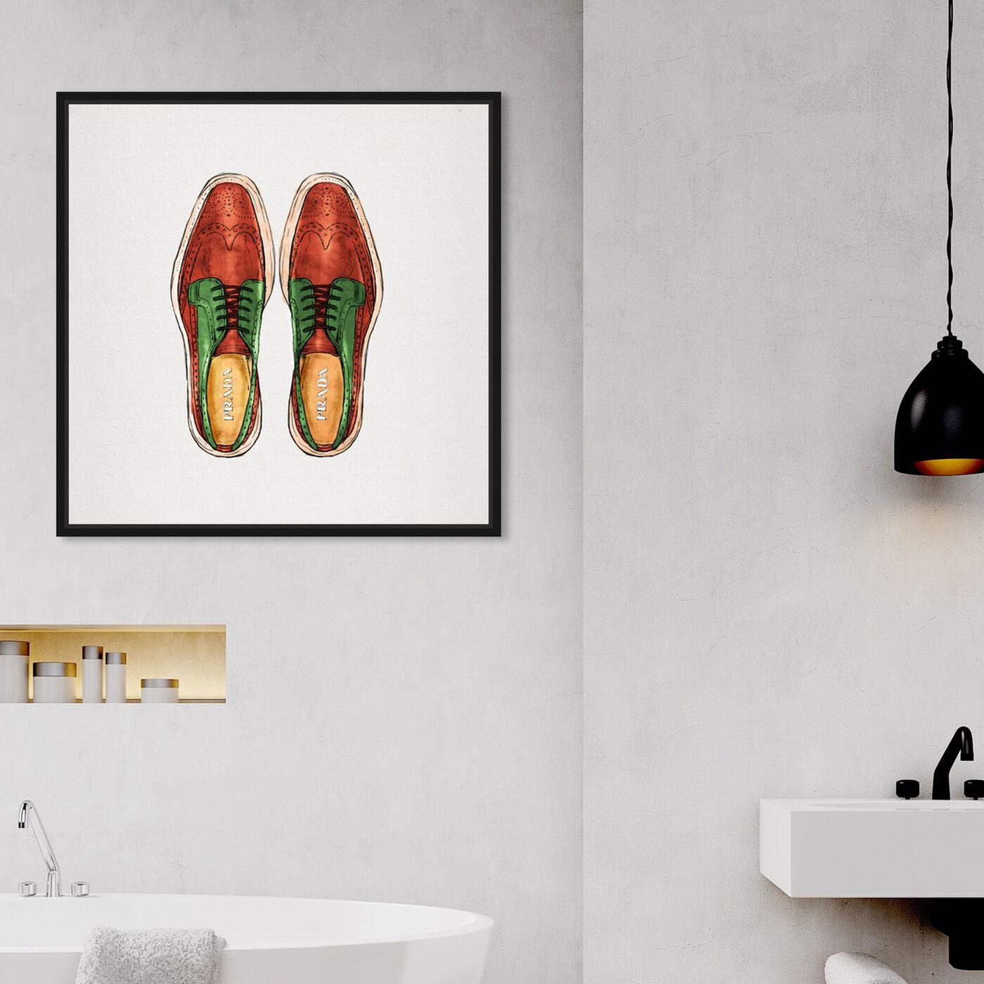 Hanging view of His Wingtips featuring fashion and glam and shoes art.