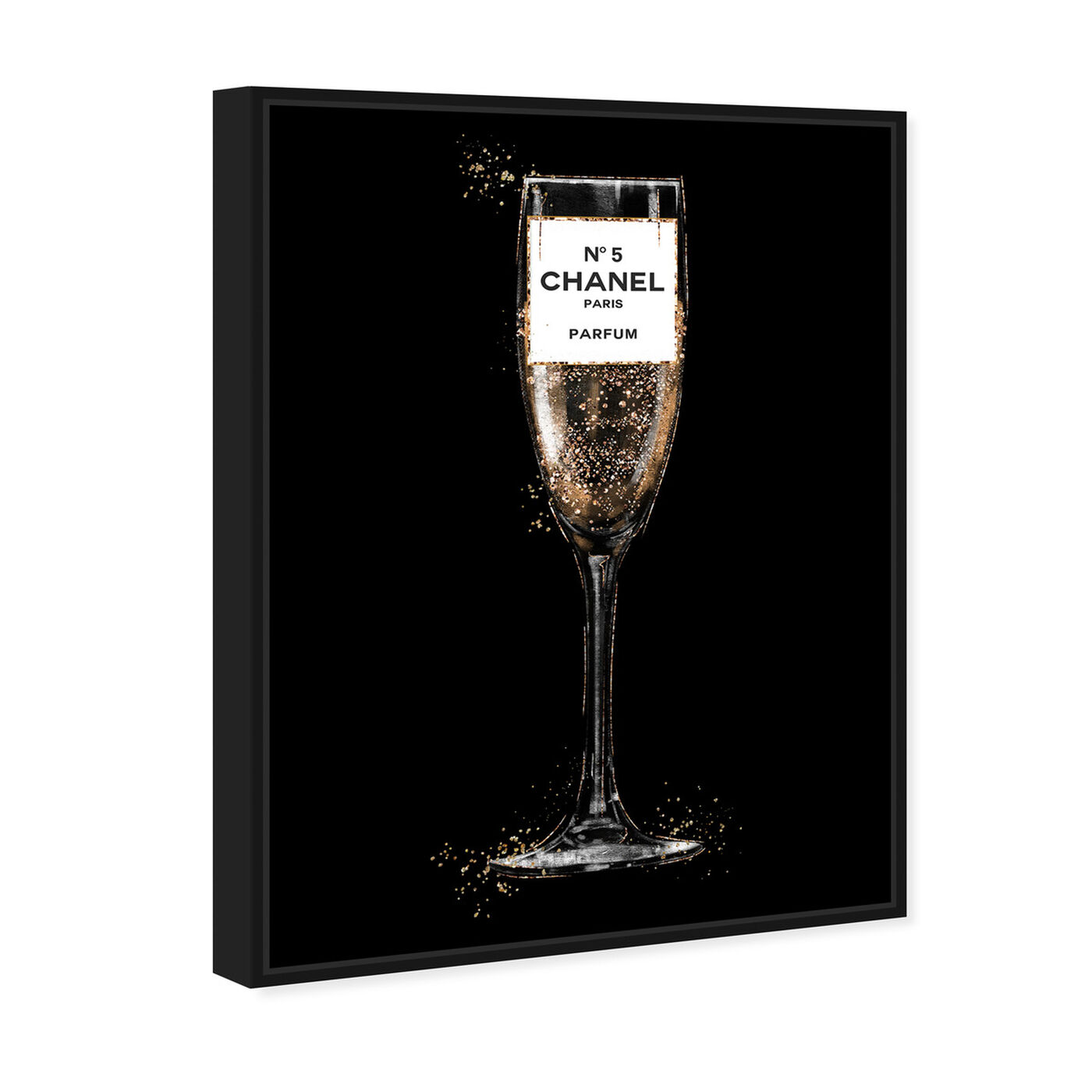Angled view of Glam Bubbly Champagne Perfume Black featuring fashion and glam and lifestyle art.